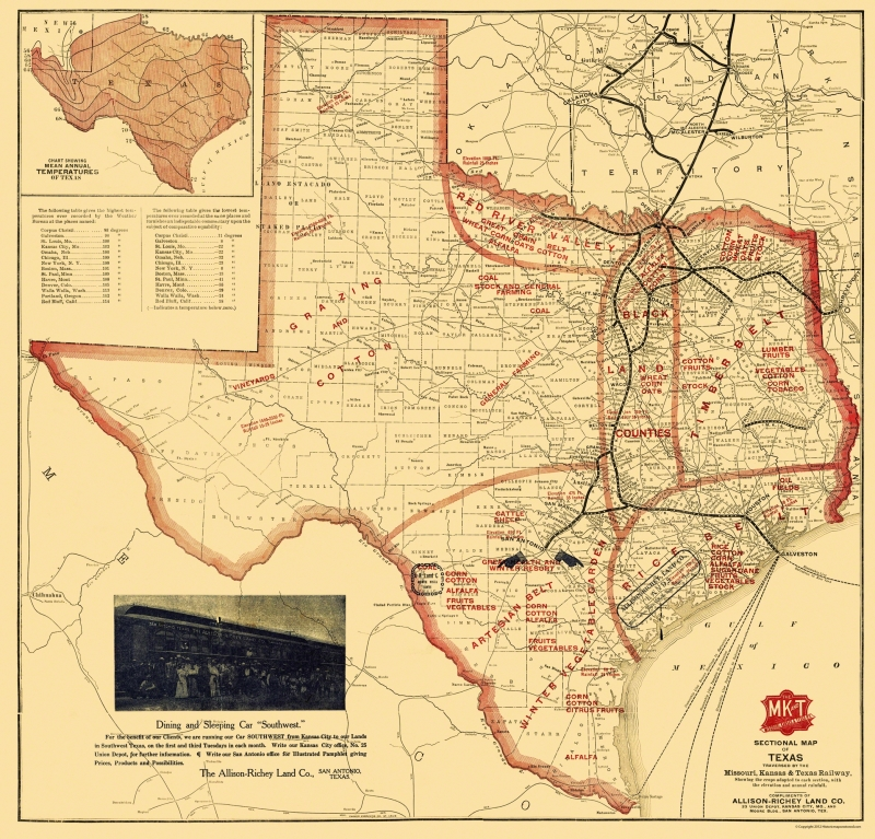 Map Of Texas Railroads.Old Railroad Map Missouri Kansas And Texas Railroad Parker 1907 24 X 23