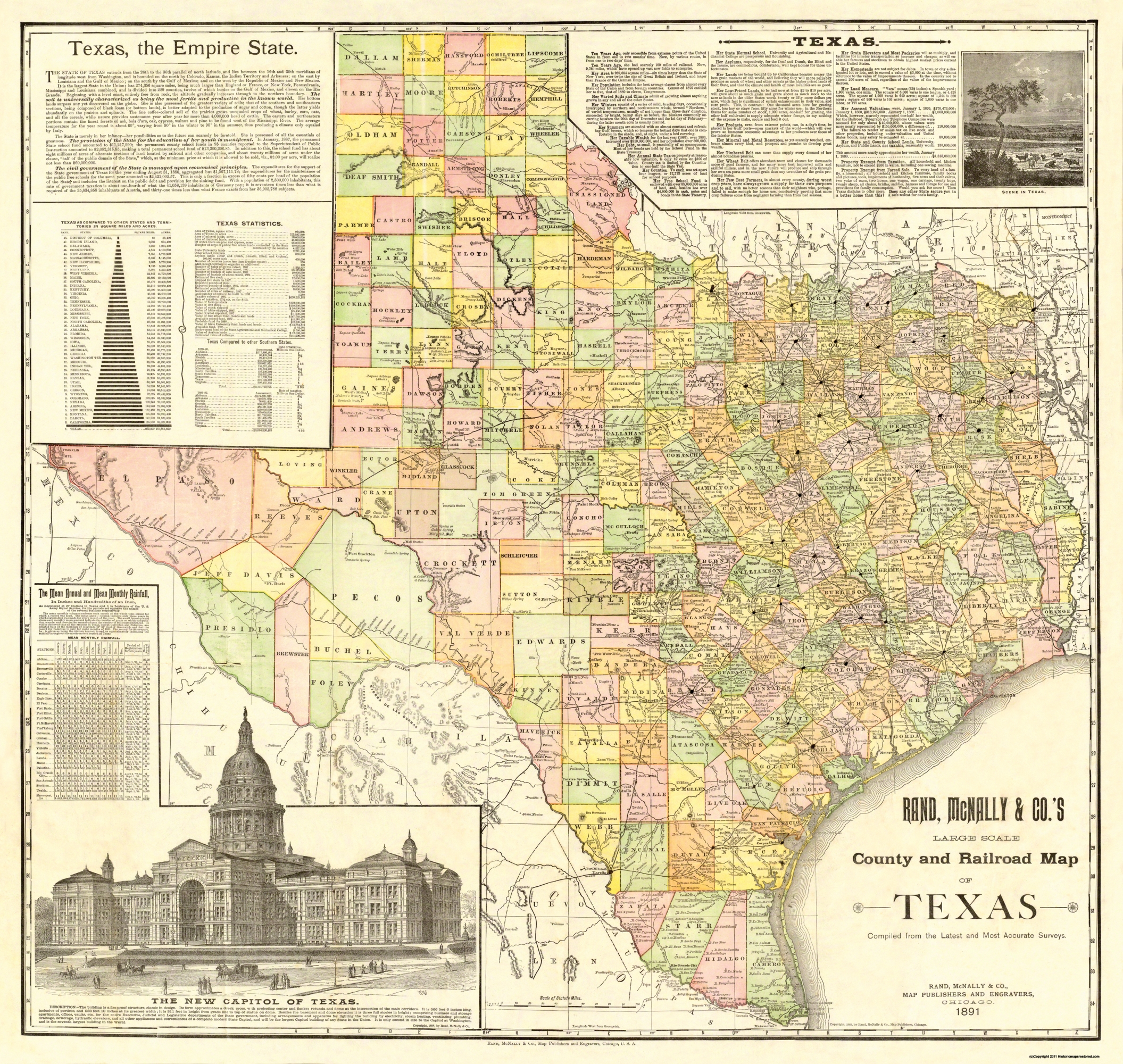 Map Of Texas With Counties.Old Railroad Map Texas Counties And Railroads 1891