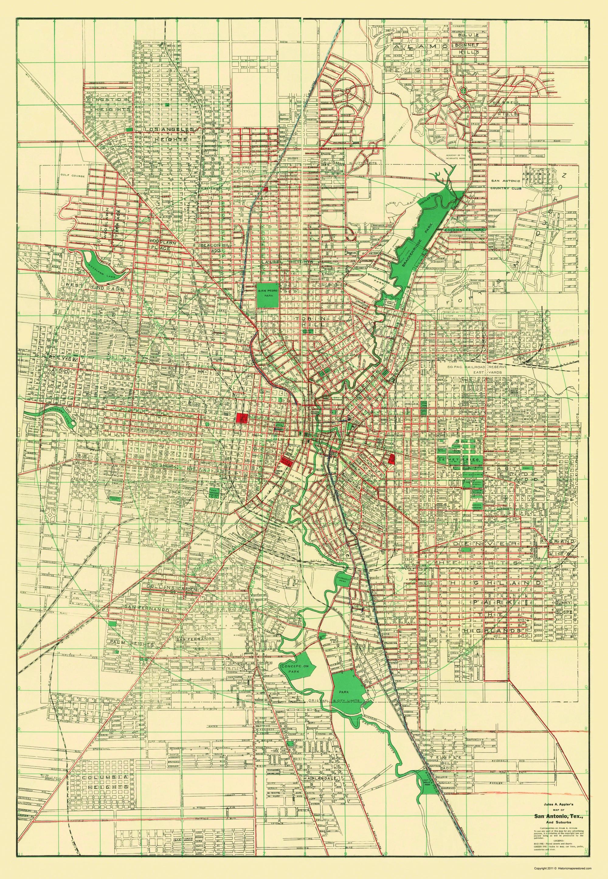 San Antonio Map Of Texas.San Antonio Texas Appler 1900 23 X 33 27