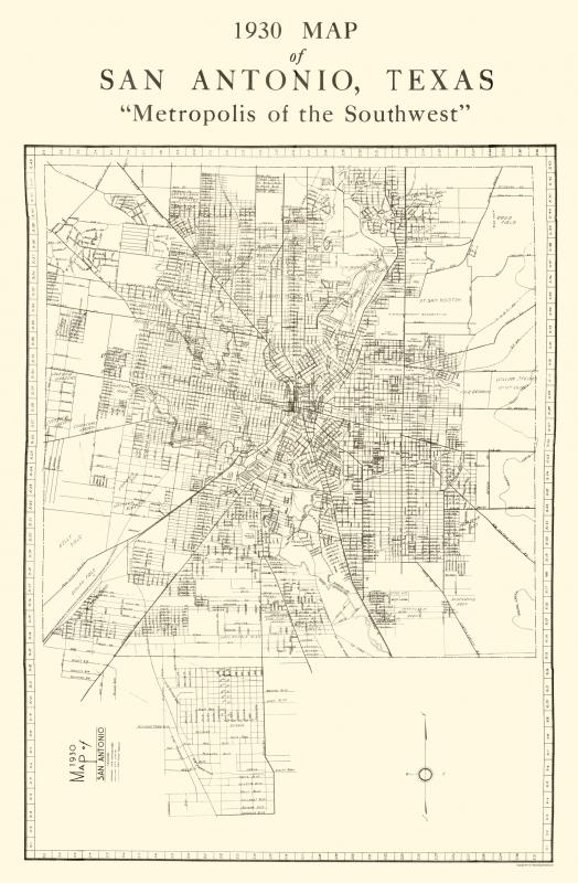 Old City Map San Antonio Texas National 1930