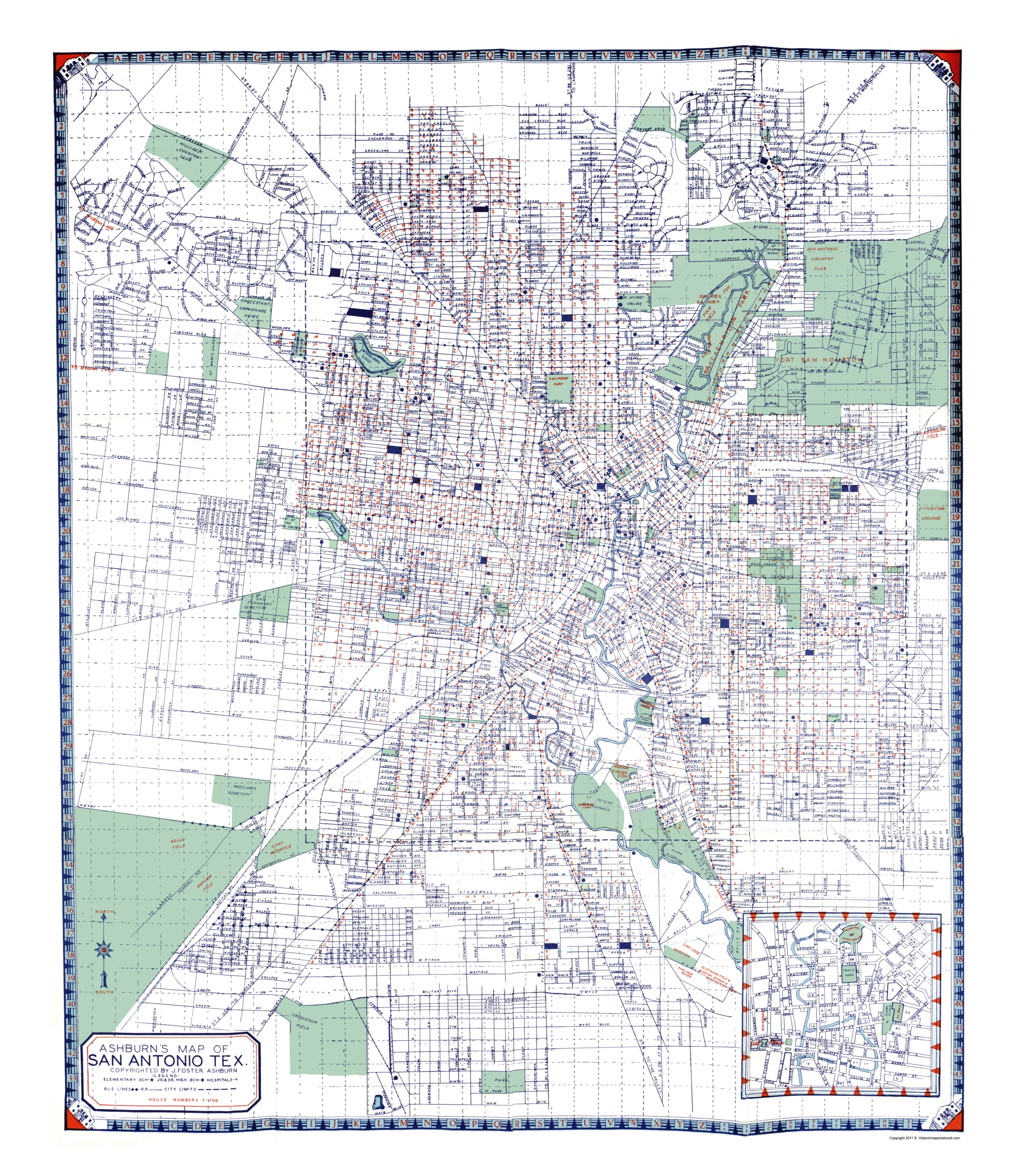 San Antonio Texas - Ashburn 1940 - 23 x 26.65 on virginia city map, monterrey map, indianapolis map, south tx map, united states map, salt lake city map, brazos river map, santa fe map, lackland air force base map, poteet tx map, district of columbia map, honolulu map, los angeles map, usa map, nacogdoches map, texas map, galveston map, bexar county map, ozona tx map, converse map,