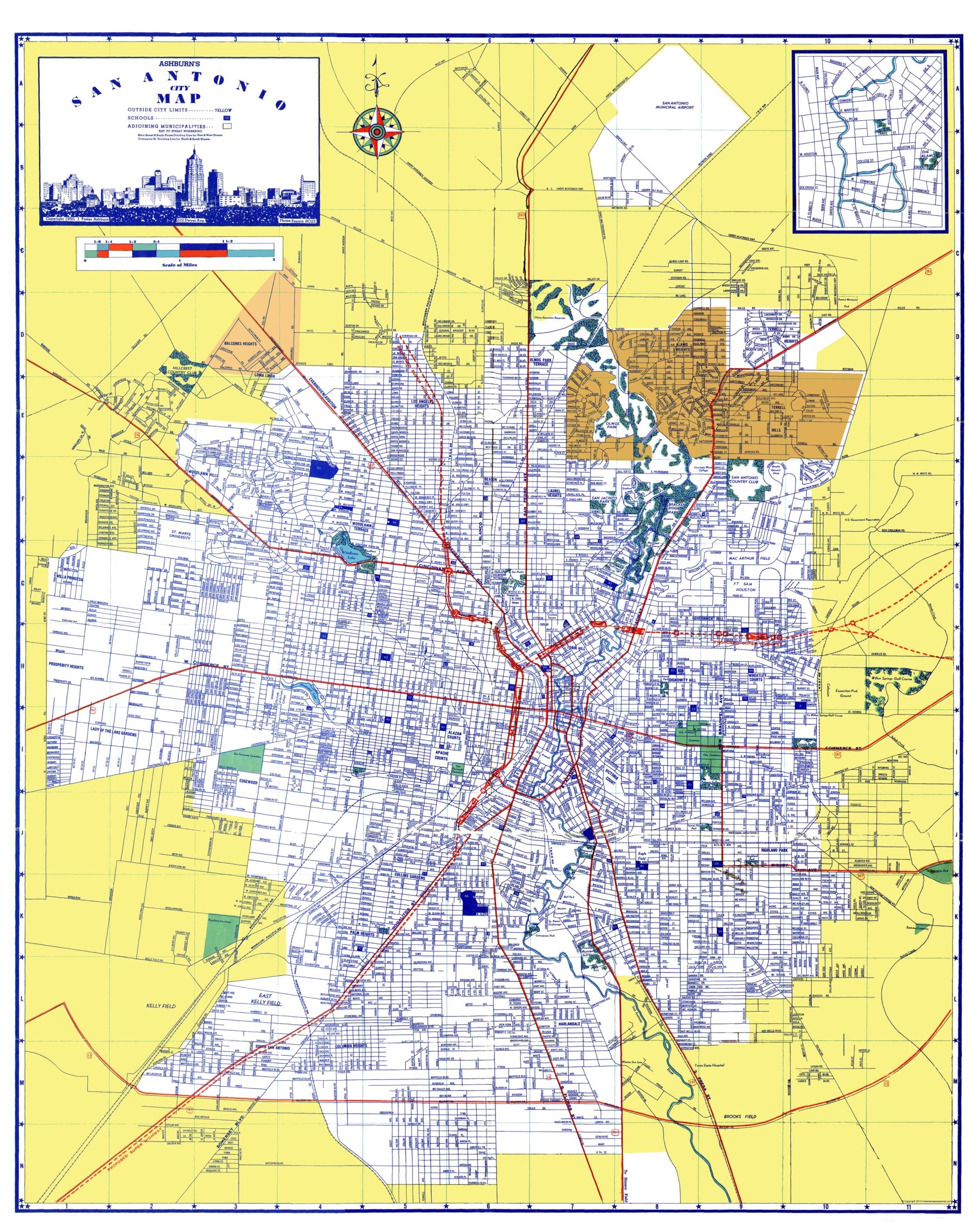 San Antonio Map Of Texas.San Antonio Texas Ashburn 1950 23 X 28 71