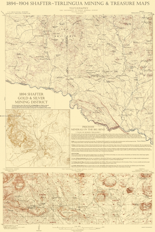 Old Topographical Map Shafter Terlingua Texas 1904