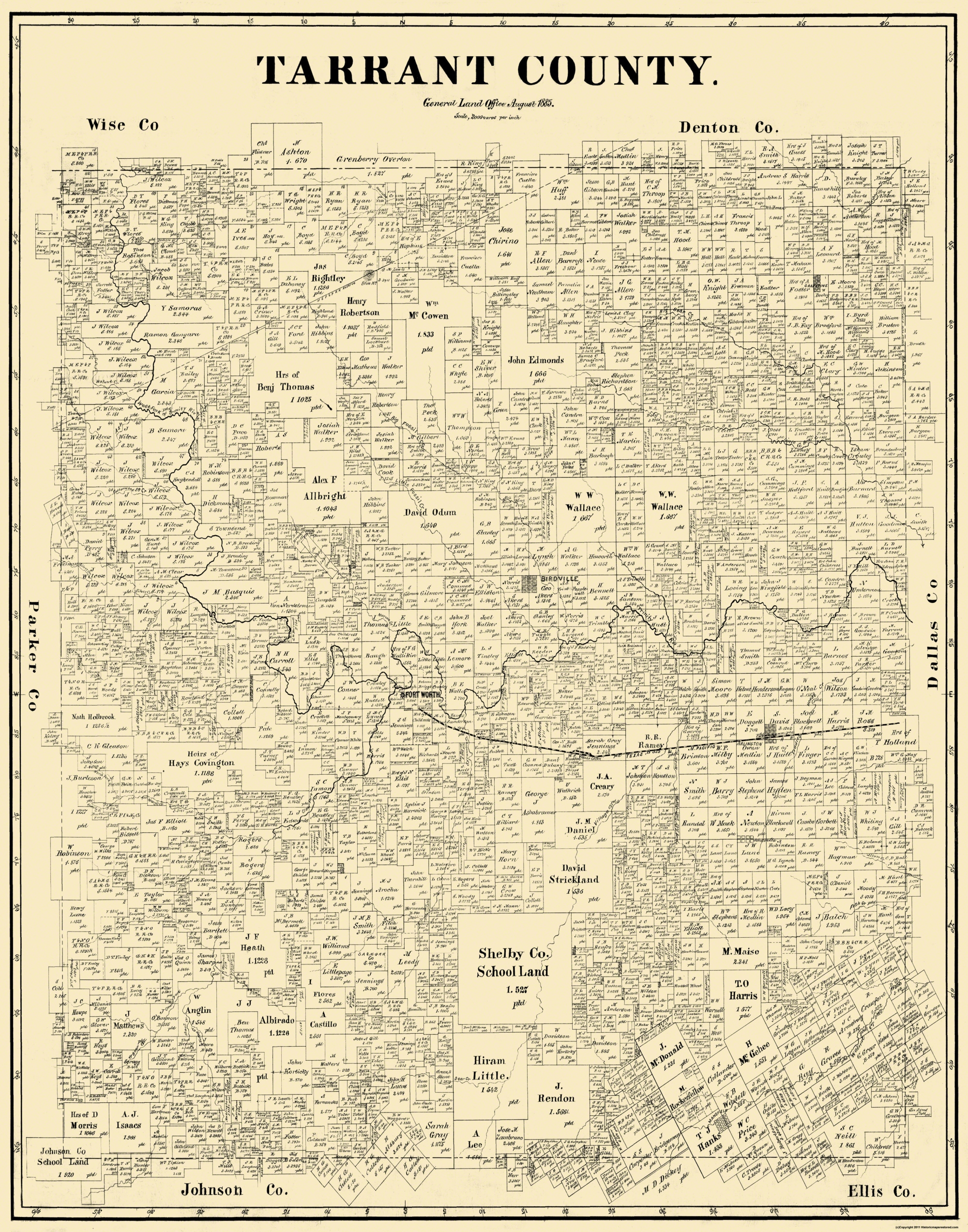 Old County Map Tarrant Texas Landowner - County maps of texas