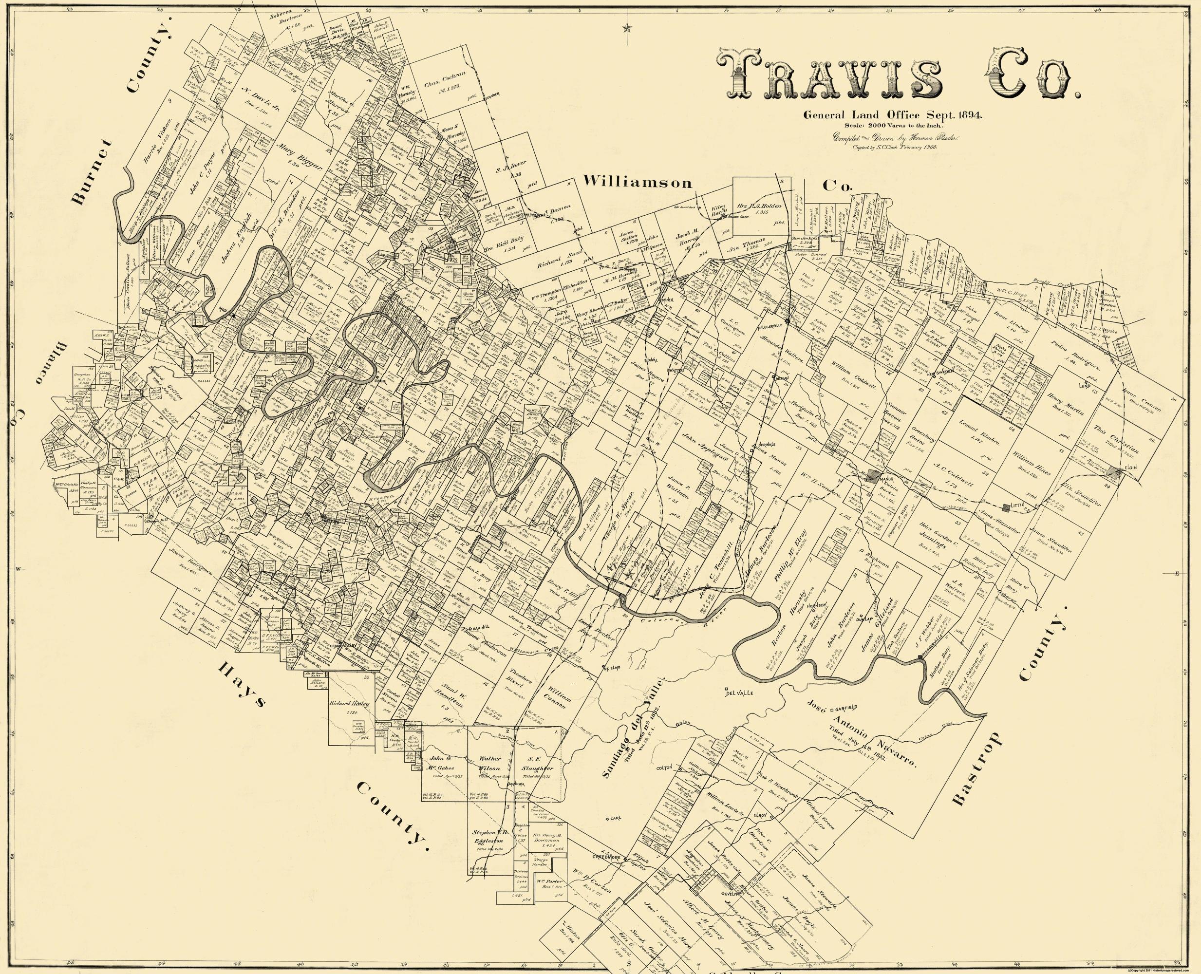 Old County Map Travis Texas Landowner - Map of colorado river in texas