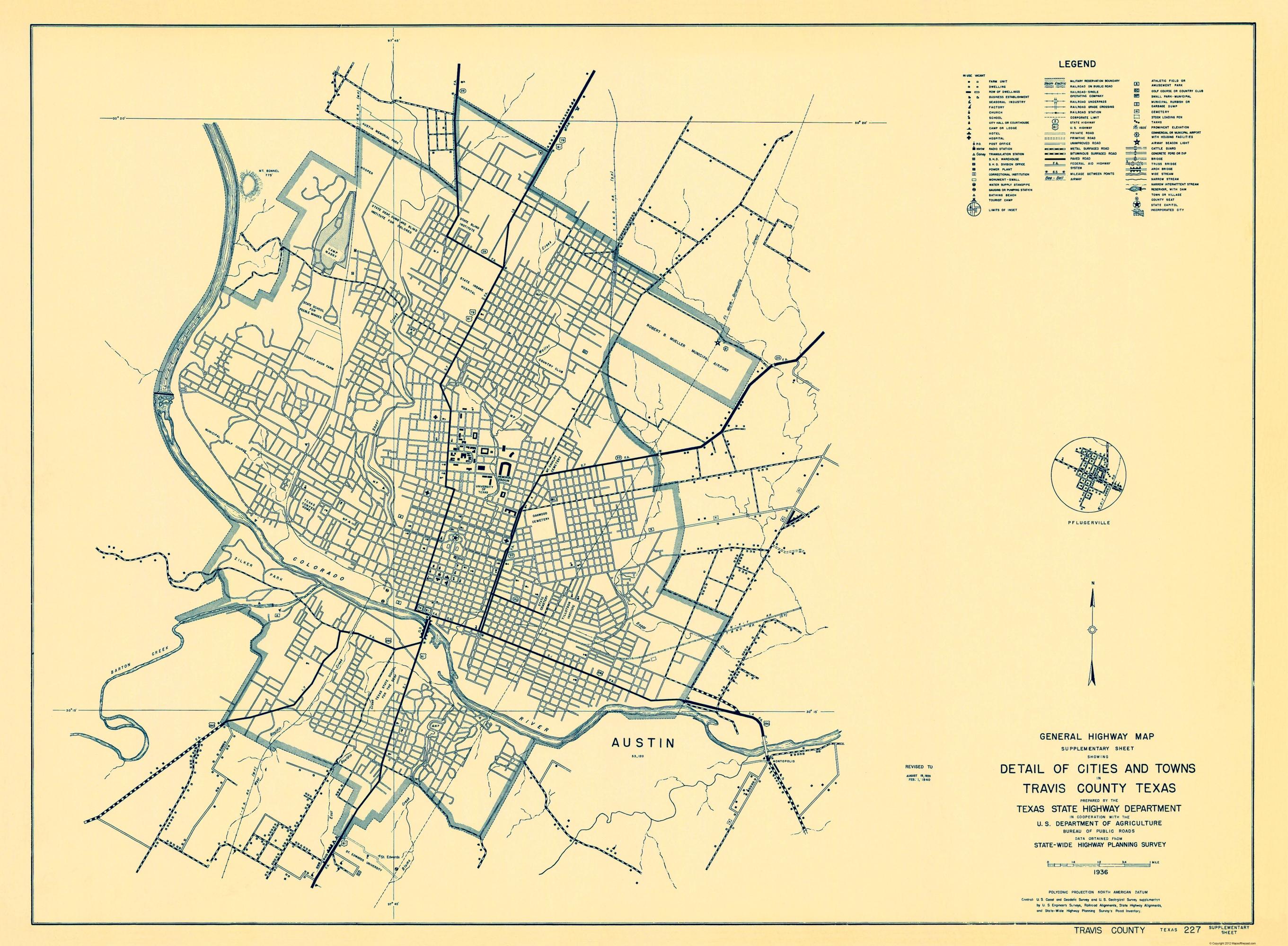 Old County Map Travis Texas Highway Highway Dept 1936