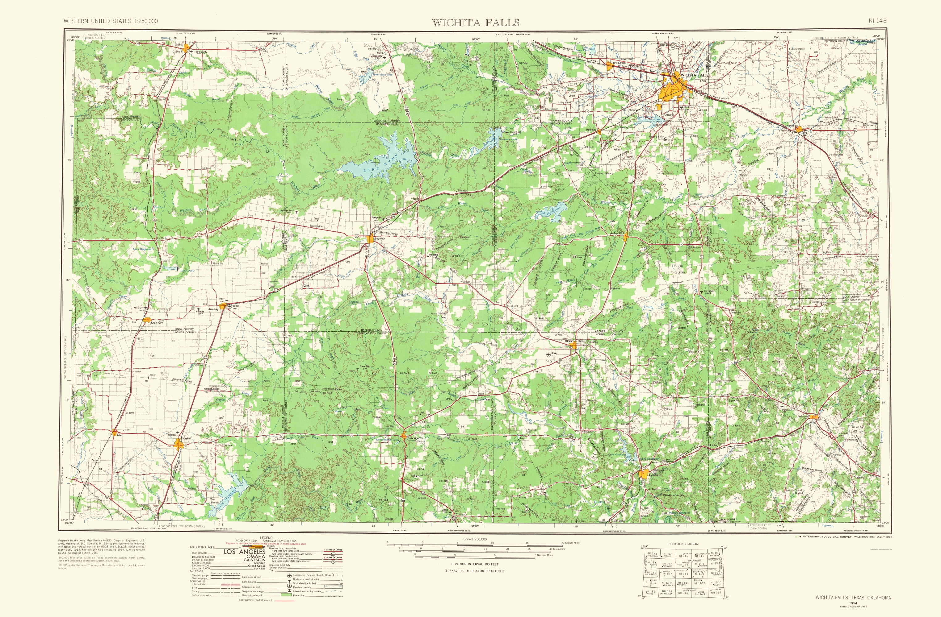 Old Topographical Map - Wichita Falls Texas 1966