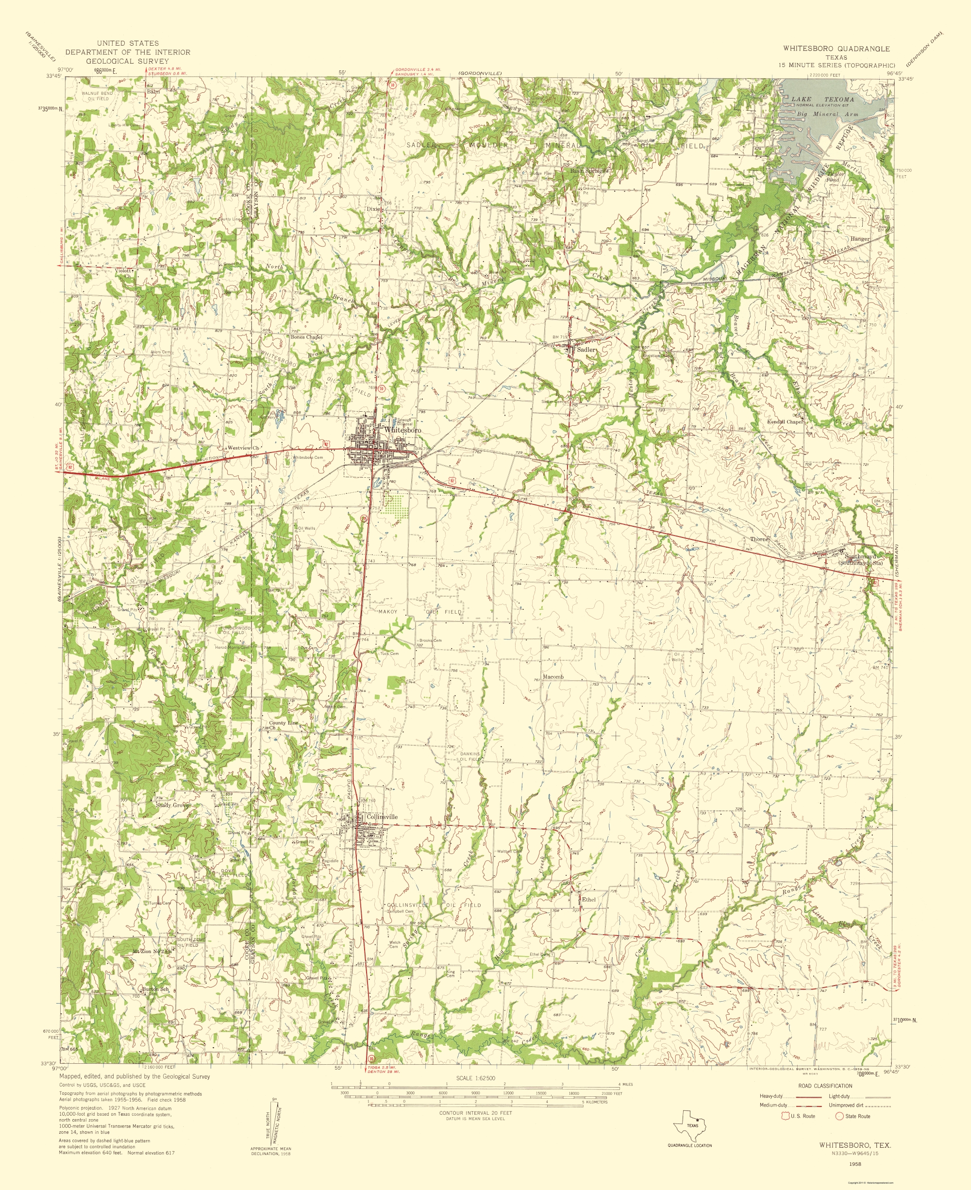 Old Topographical Map Whitesboro Texas 1959
