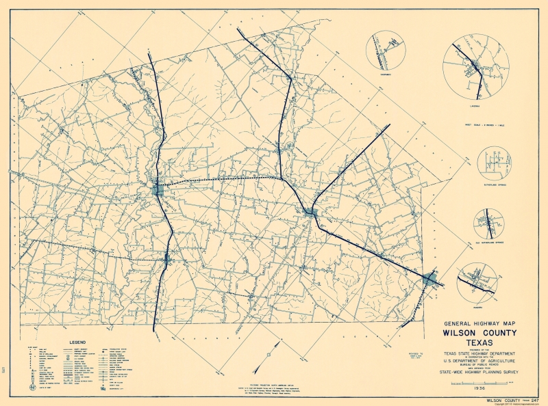 State Of Texas County Map.Old County Map Wilson Texas Highway Dept 1936 23 X 30 97