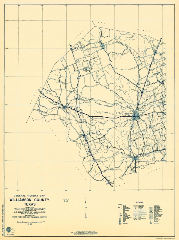 State Of Texas County Map.Old County Map Williamson Texas 1 Of 2 Highway Dept 1936 23 X 30 85