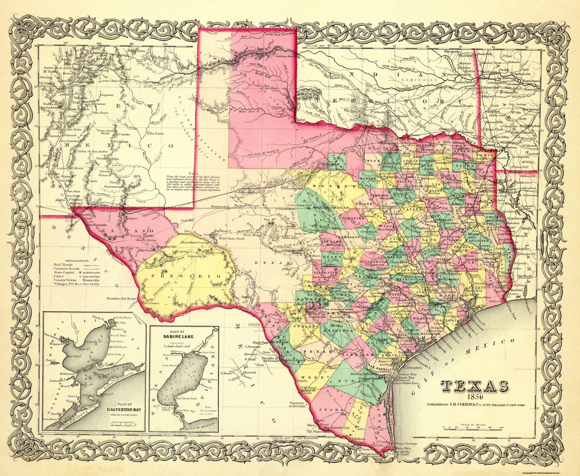 Old State Map Texas Colton 1856