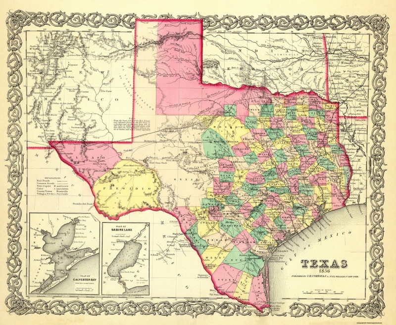 Old State Map - Texas - Colton 1856 - 28 x 23 on connecticut texas map, united states map, state of pennsylvania, state of ma, mexico map, state of oregon waterfalls, new mexico, arkansas map, state of jefferson counties, texas state large map, alabama texas map, south carolina texas map, texas legislature map, san antonio map, austin map, texas hill country map, missouri map, owasso texas map, green texas map, new york, corpus christi map, oklahoma map, united states of america,