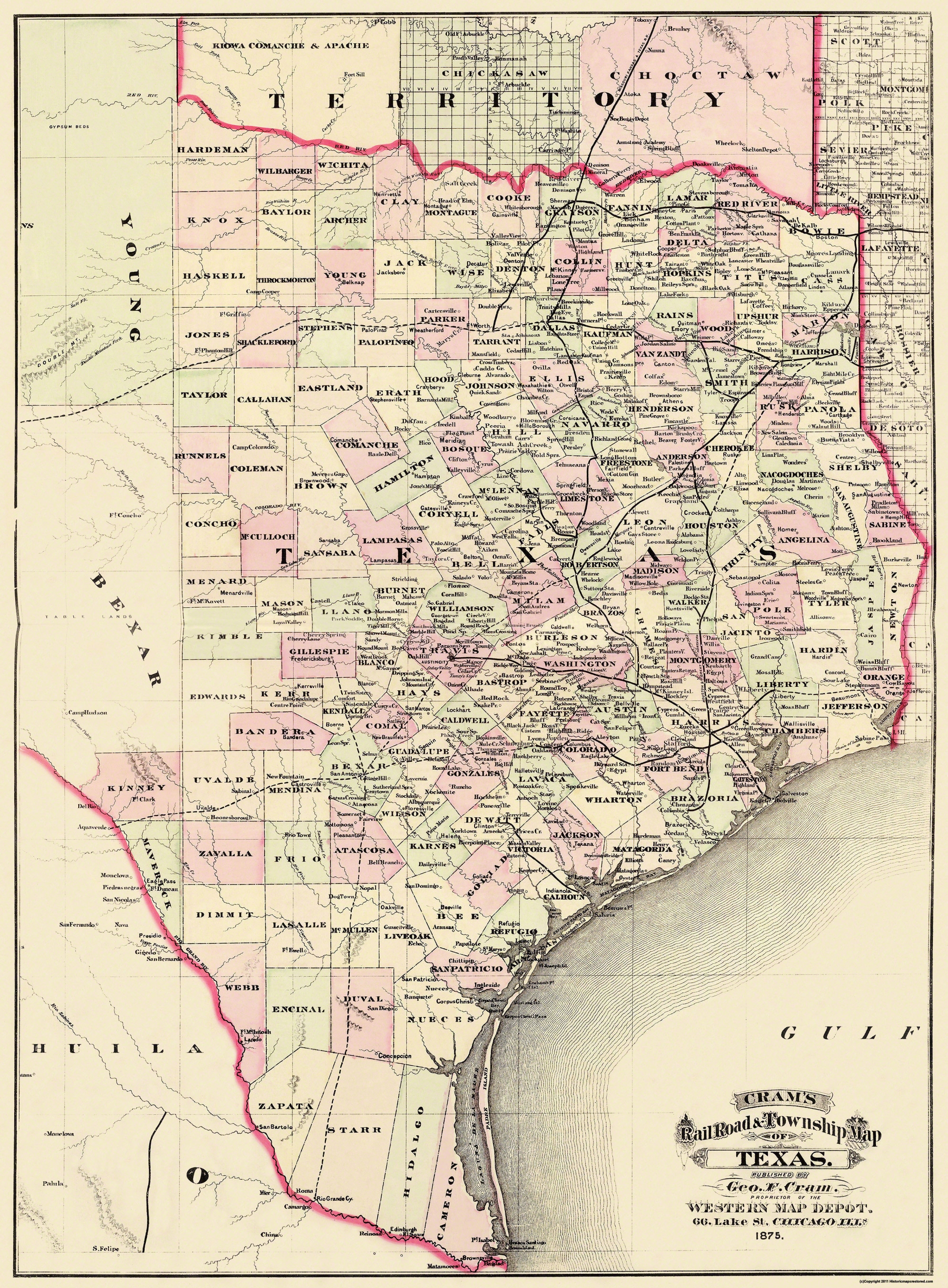 Old State Map Texas Cram 1875
