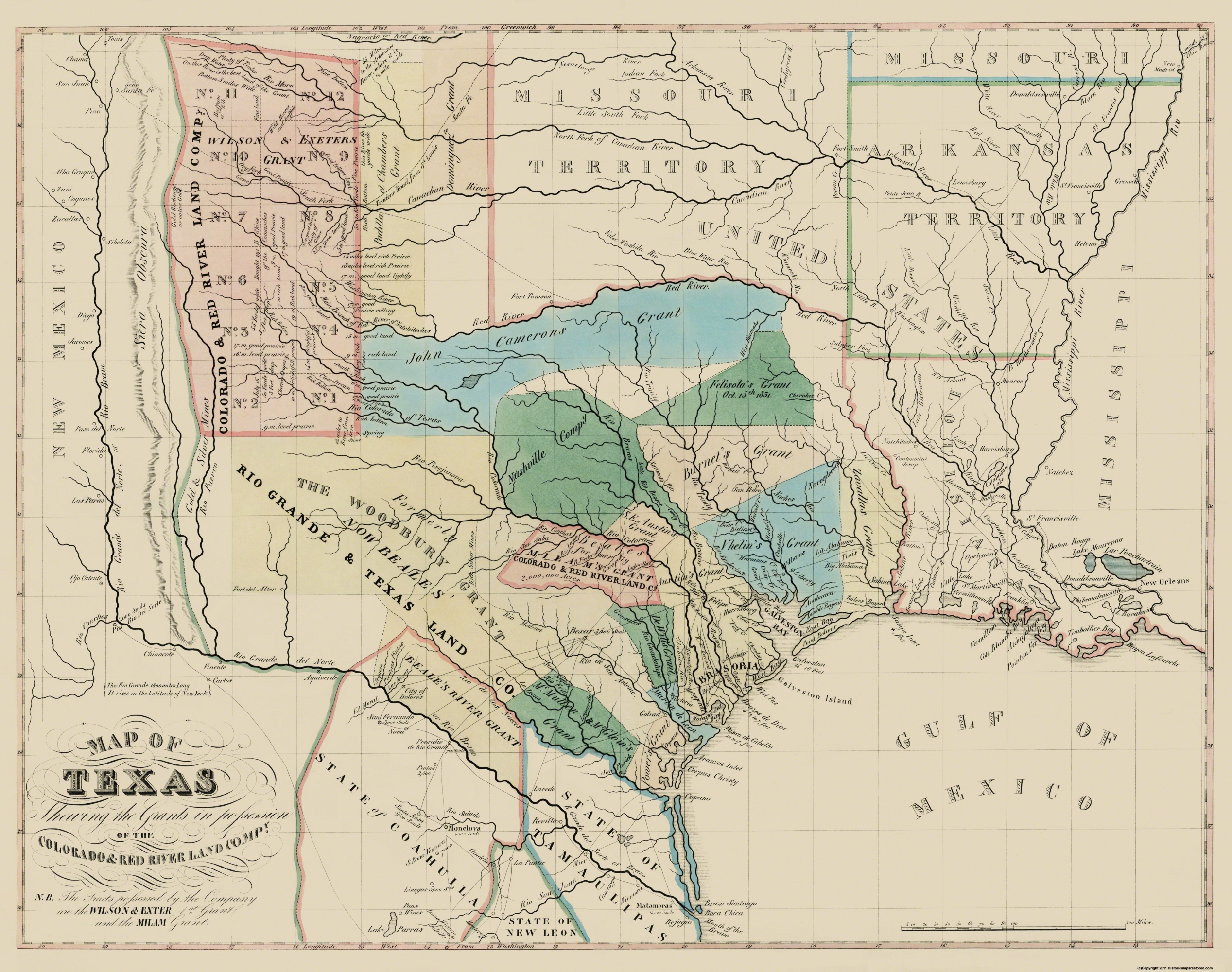 Old Map Texas Colorado Red River Land Grants - Red river map us