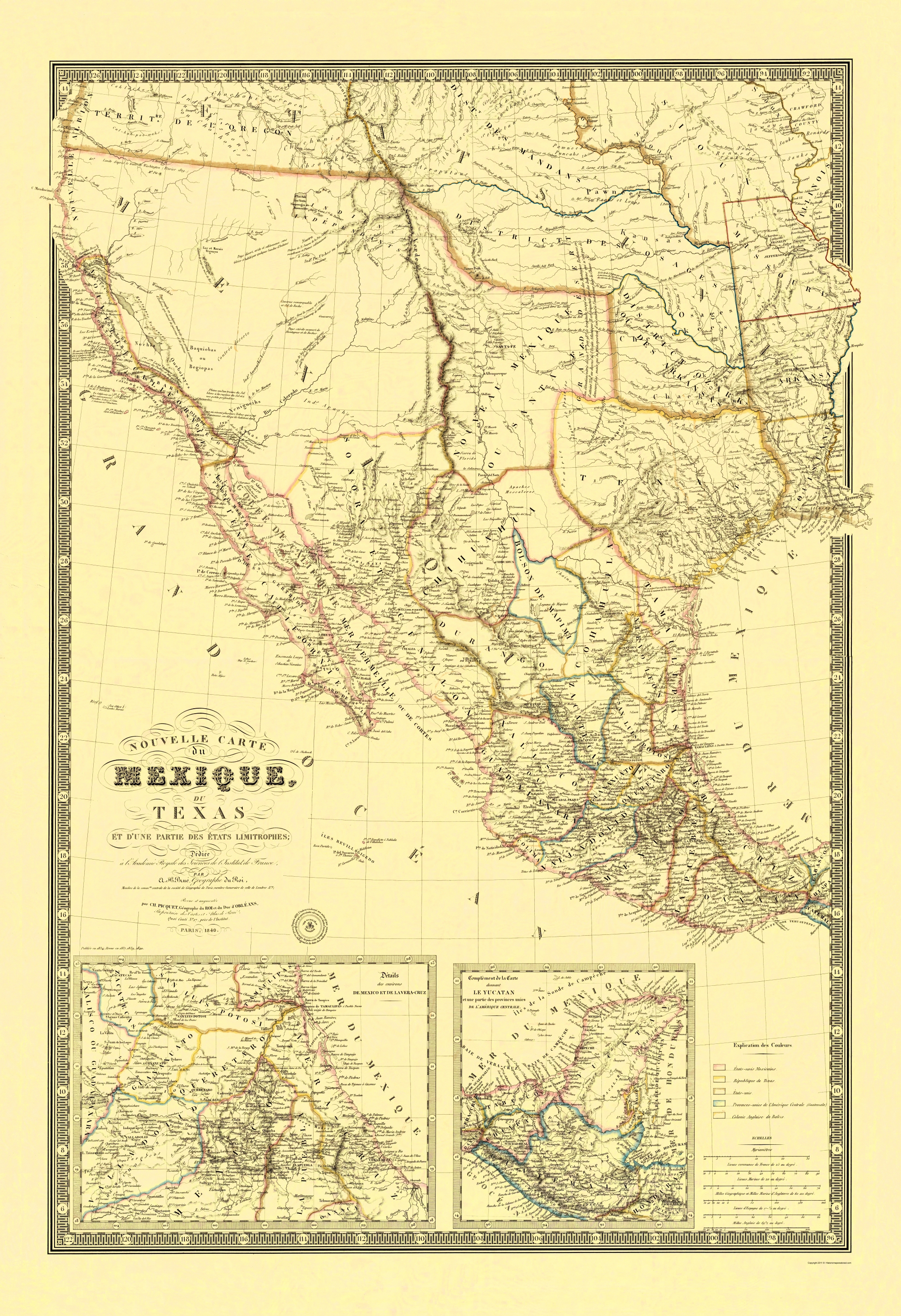 Map Of Texas Mexico.Old State Map New Map Of Mexico And Texas 1840 23 X 33 59