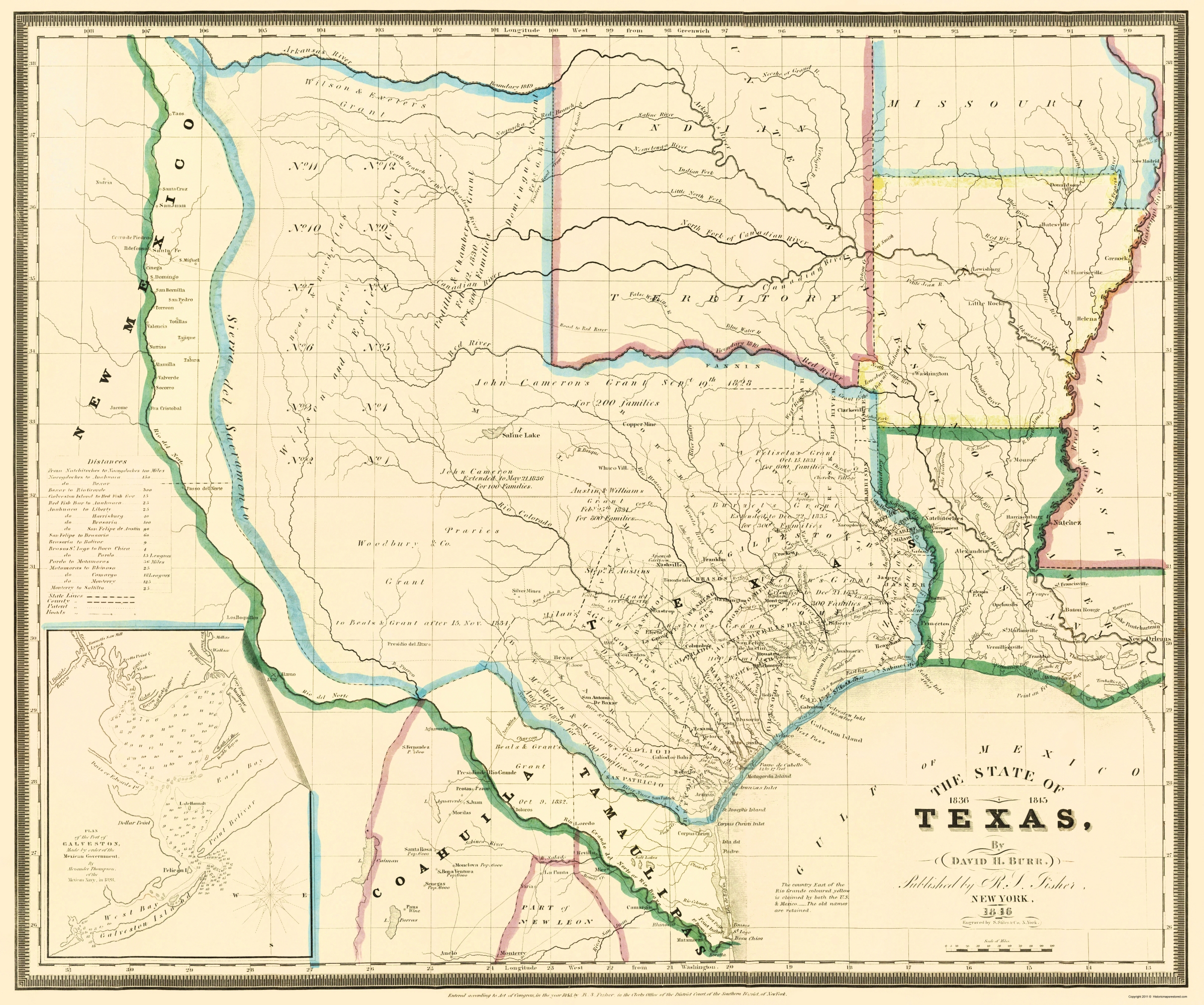 Old State Map Texas Burr 1846