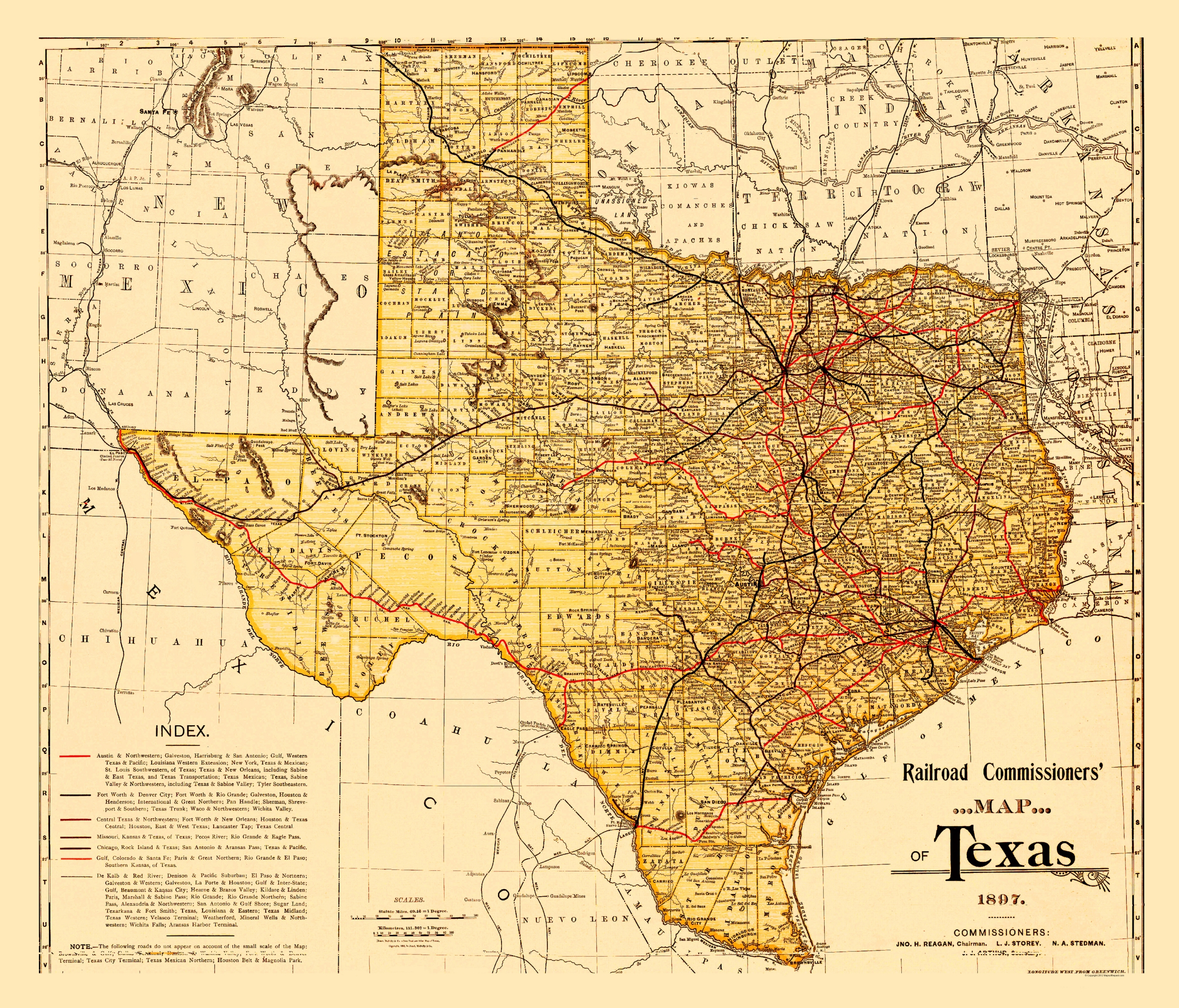 Old State Map - Railroad Commissioners Map of Texas 1897