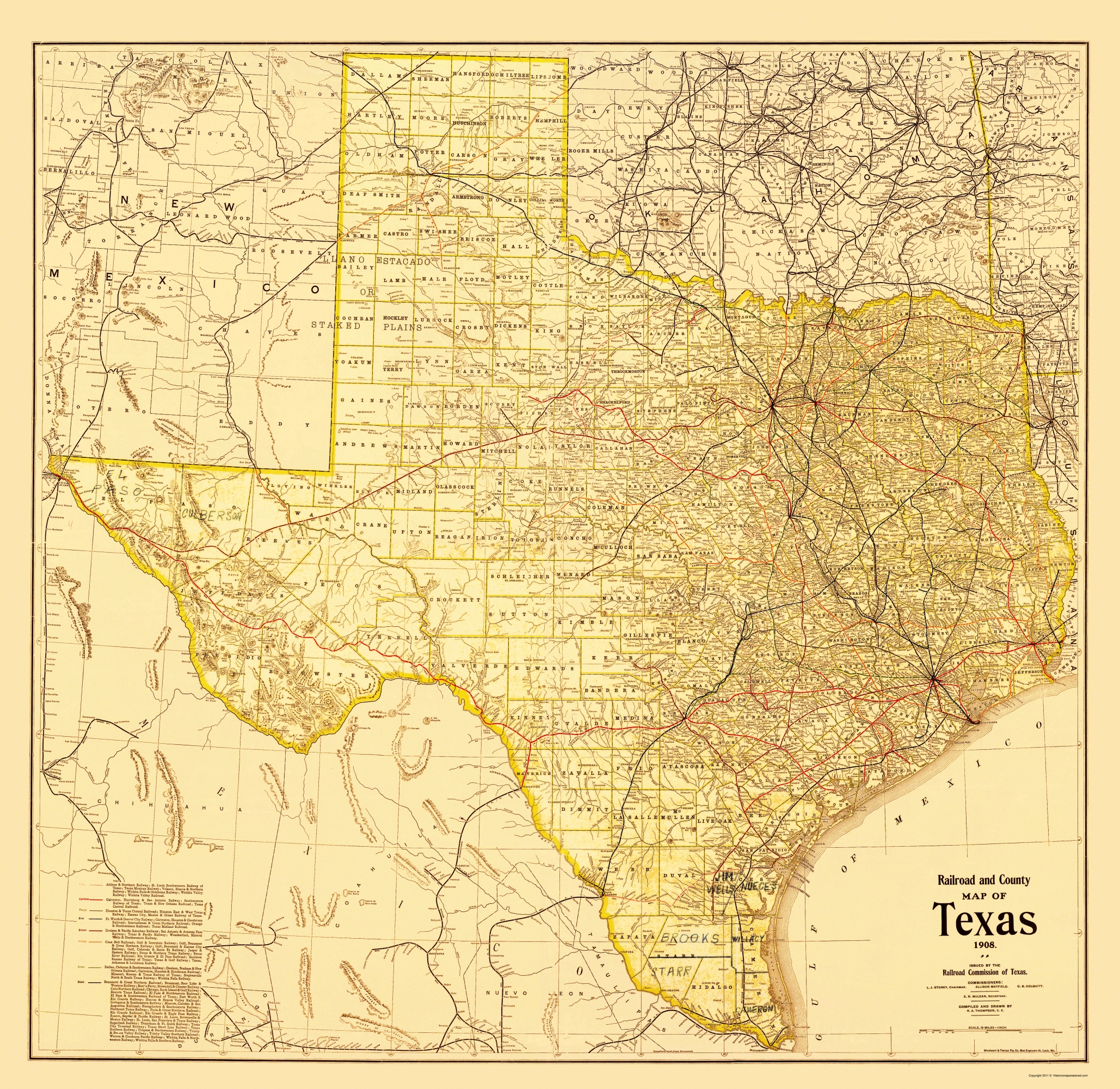 Old Travel Map Railroad And County Map Of Texas 1908 - Us Map 1908