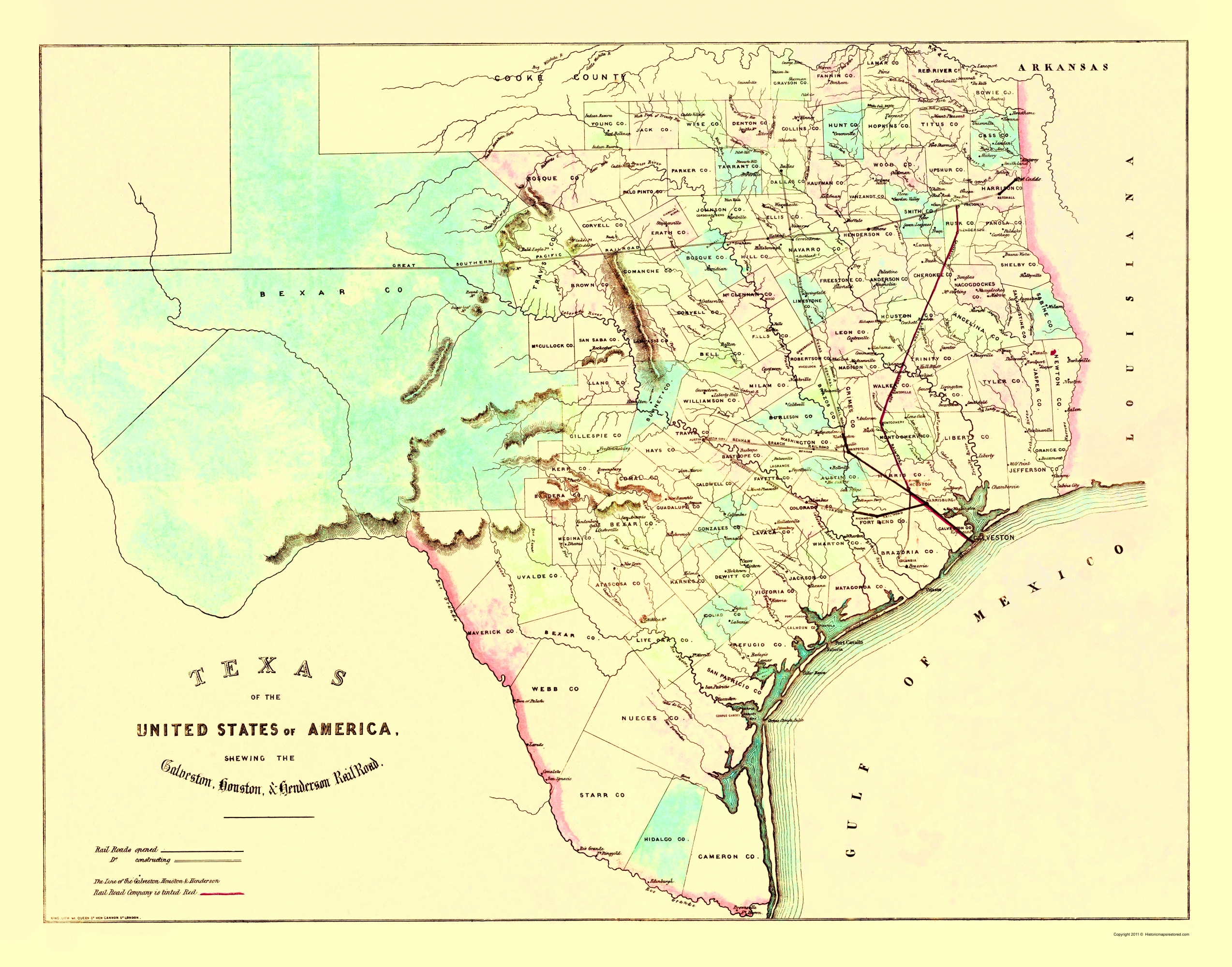 Old Railroad Map Galveston Houston and Henderson 1872
