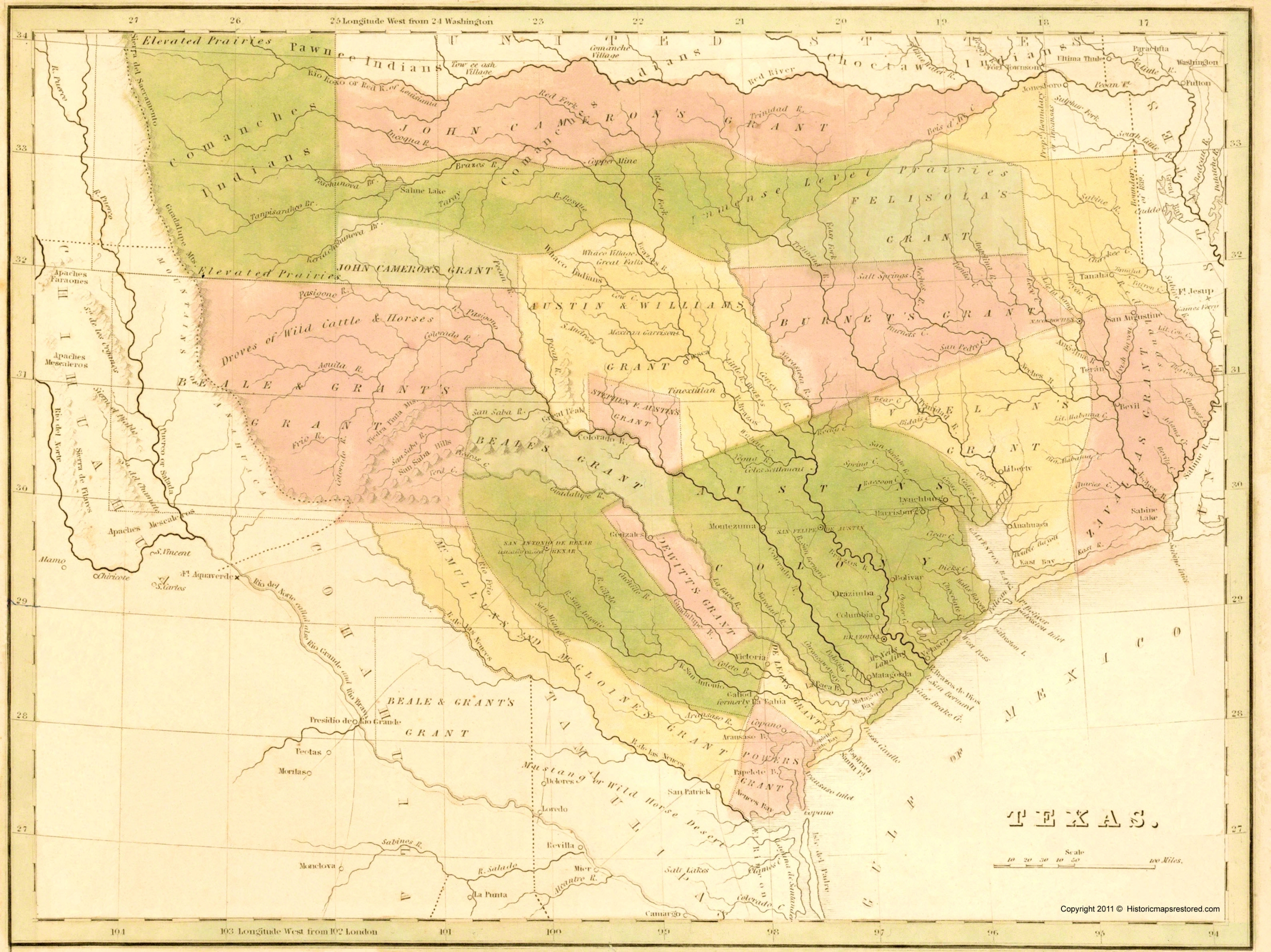 Old Map Texas With Grants And Indian Territory - Map of colorado river in texas