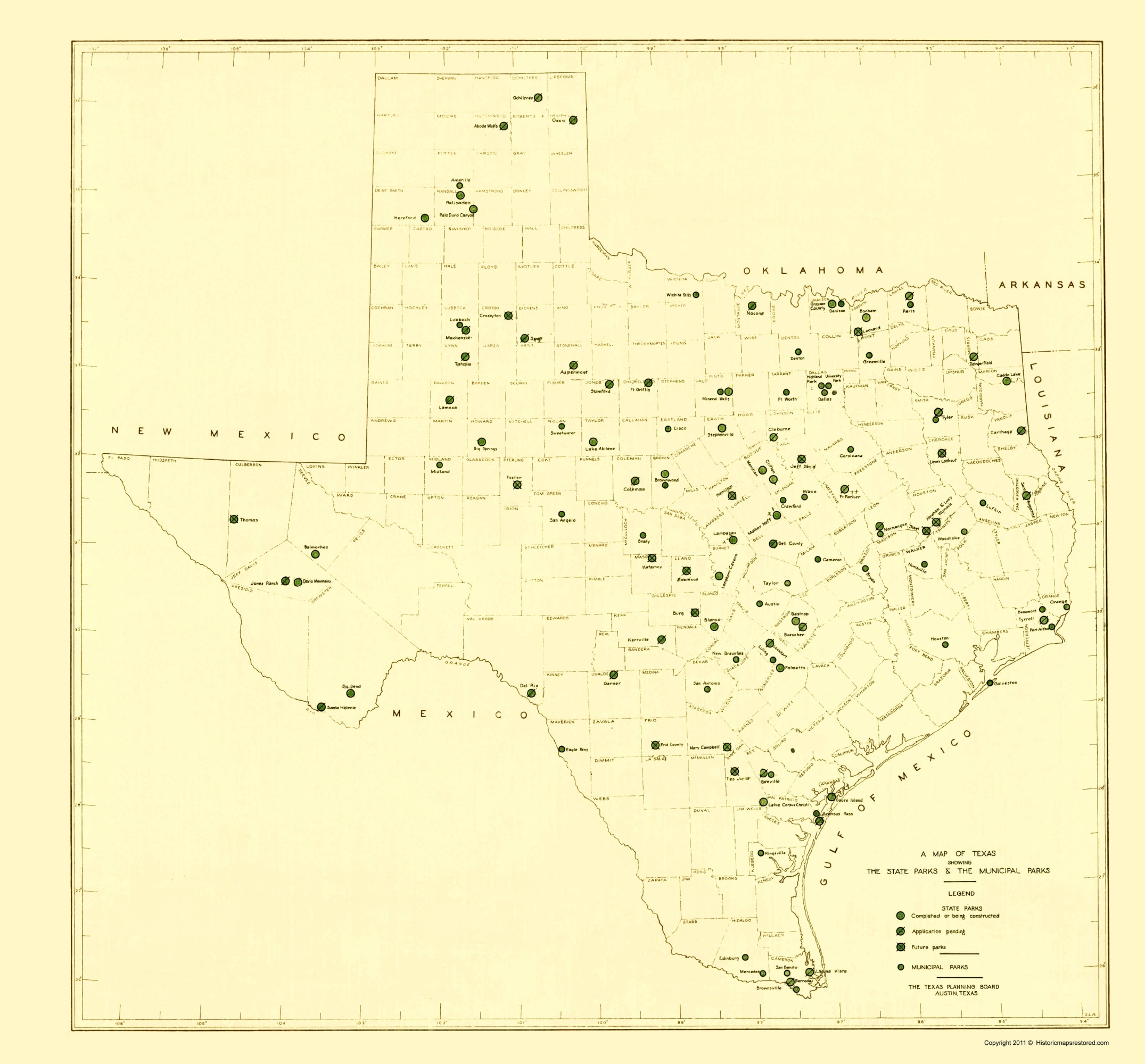 Map Of Texas State Parks.Old State Map Texas State And Municipal Parks 1936