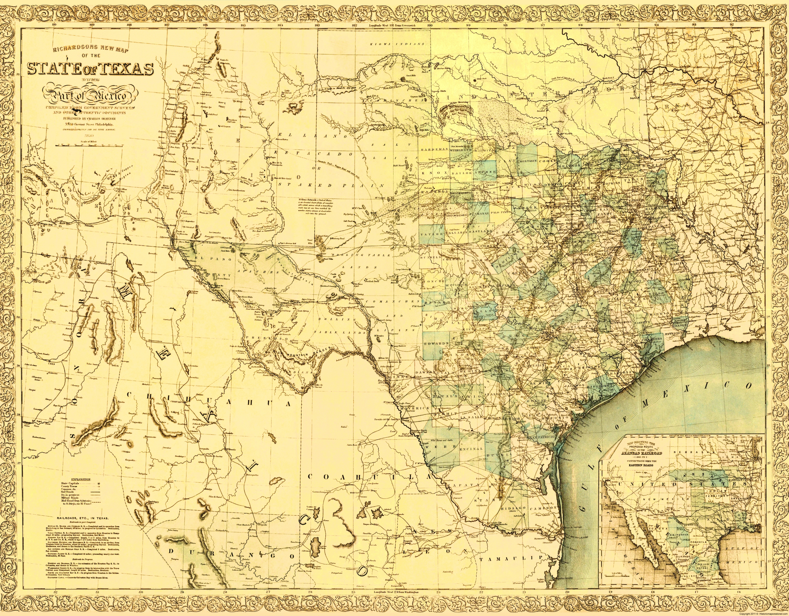Map Of Northern Texas.Old State Map Texas And Northern Mexico Desilver 1859