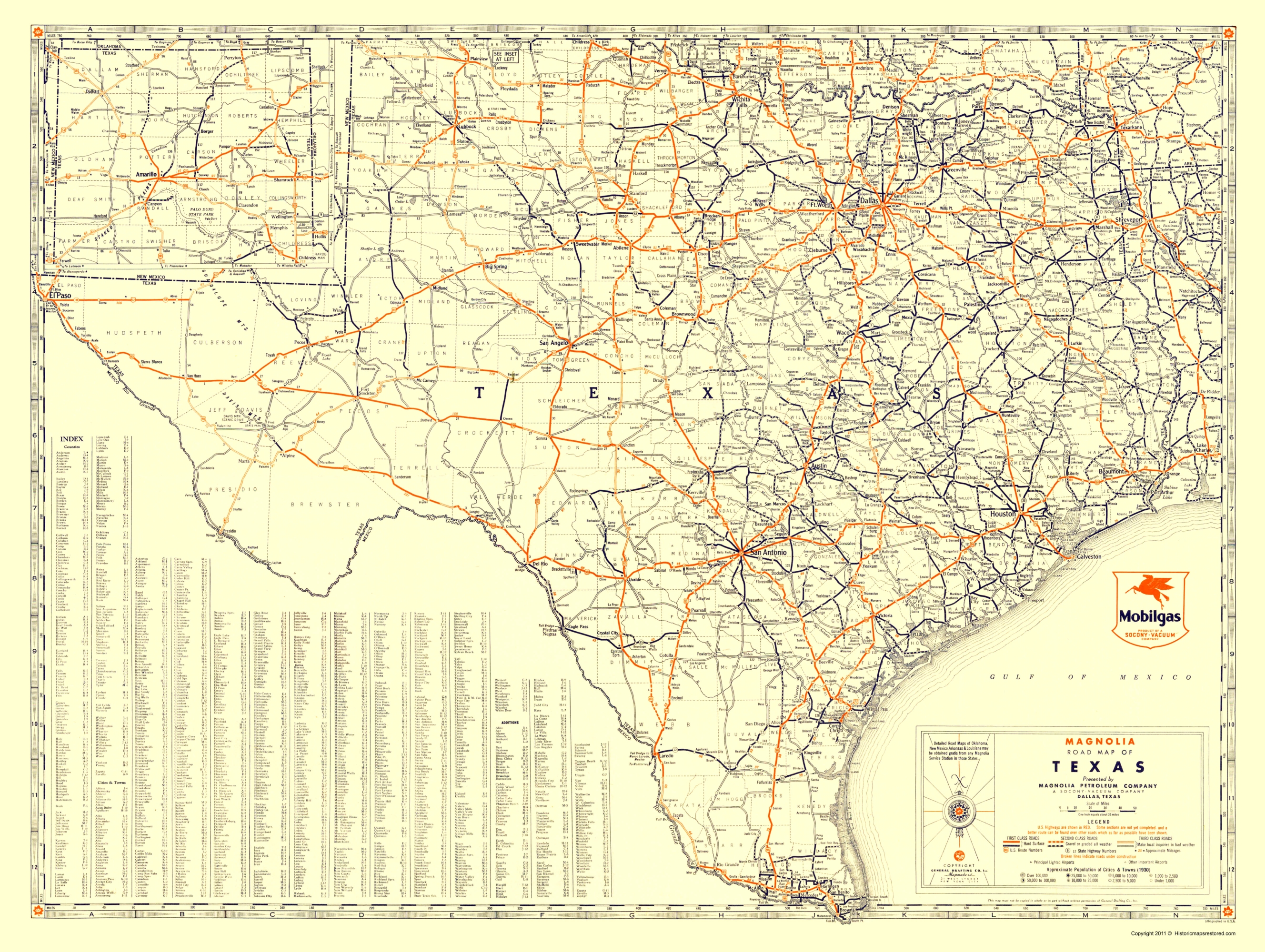 Road Map Of Texas State.Old Travel Map Texas Road Map From Magnolia Petro 1933