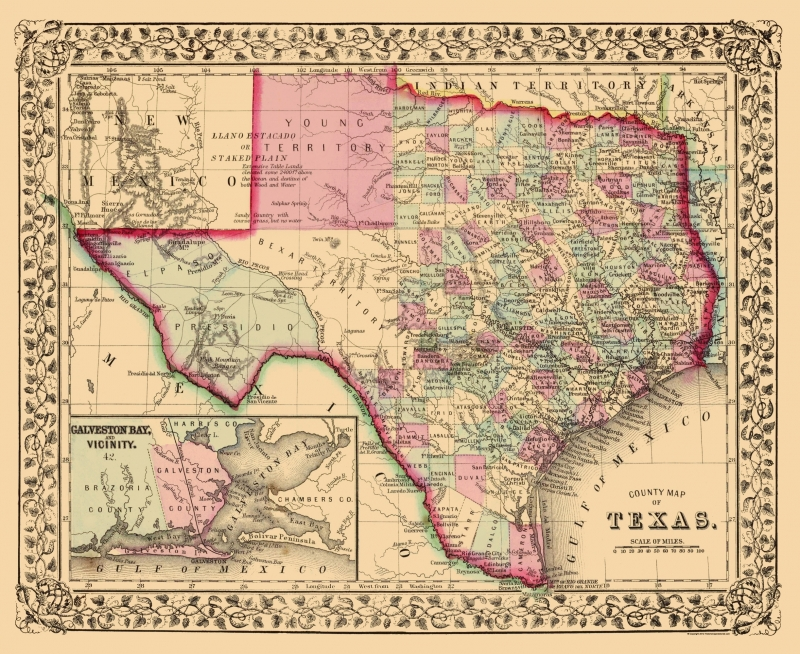 Old Map Of Texas.Old State Map Texas With An Inset Of Galveston Bay Mitchell 1860 23 X 28