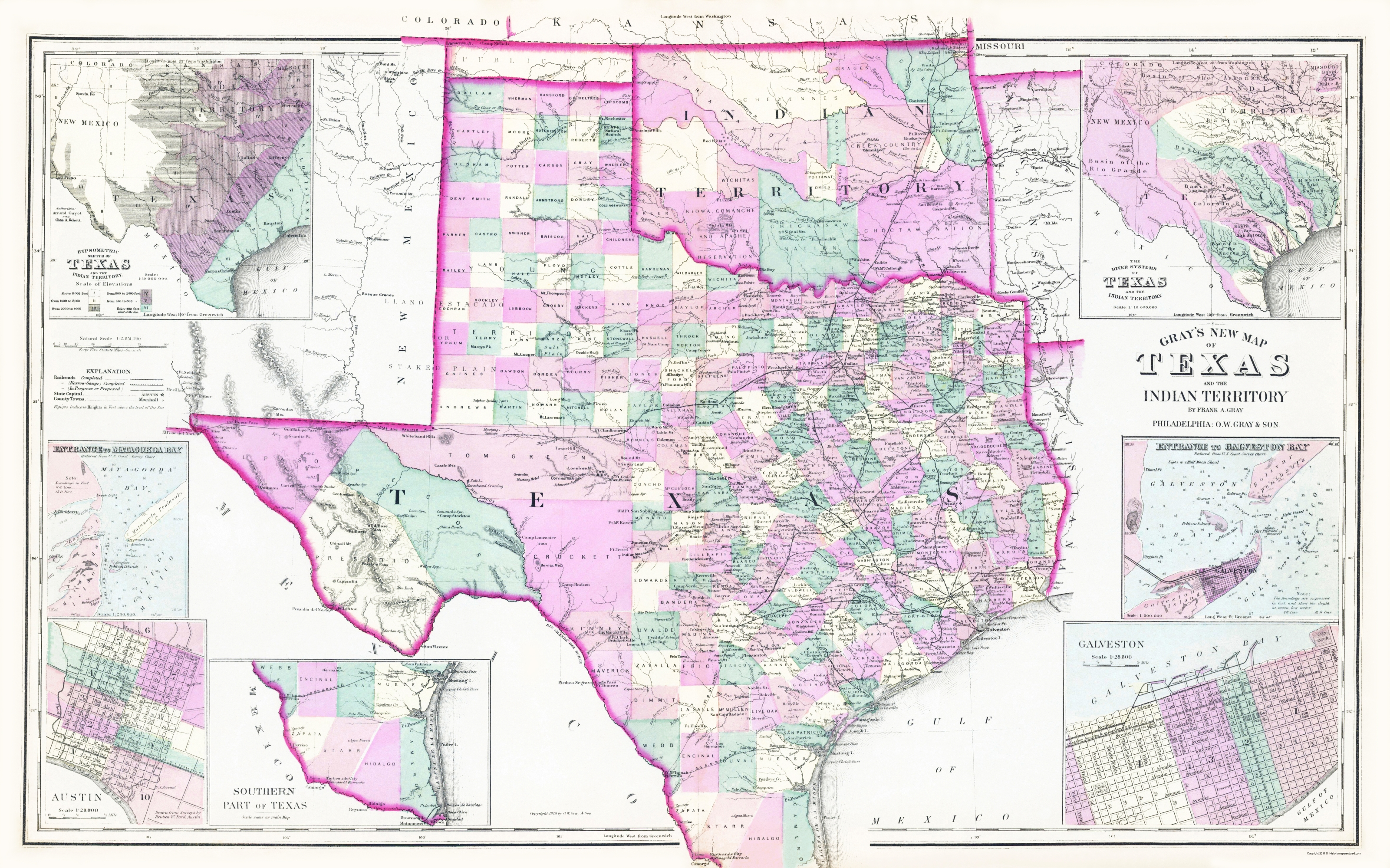 Old State Map - Texas, Oklahoma Indian Territory 1876