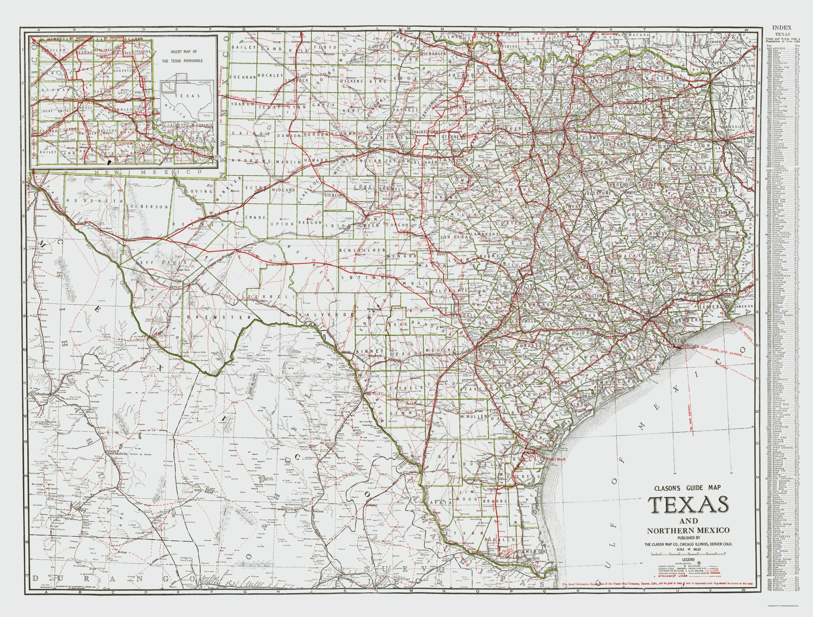 Map Of Northern Texas.Old State Map Texas And Northern Mexico Clason 1931