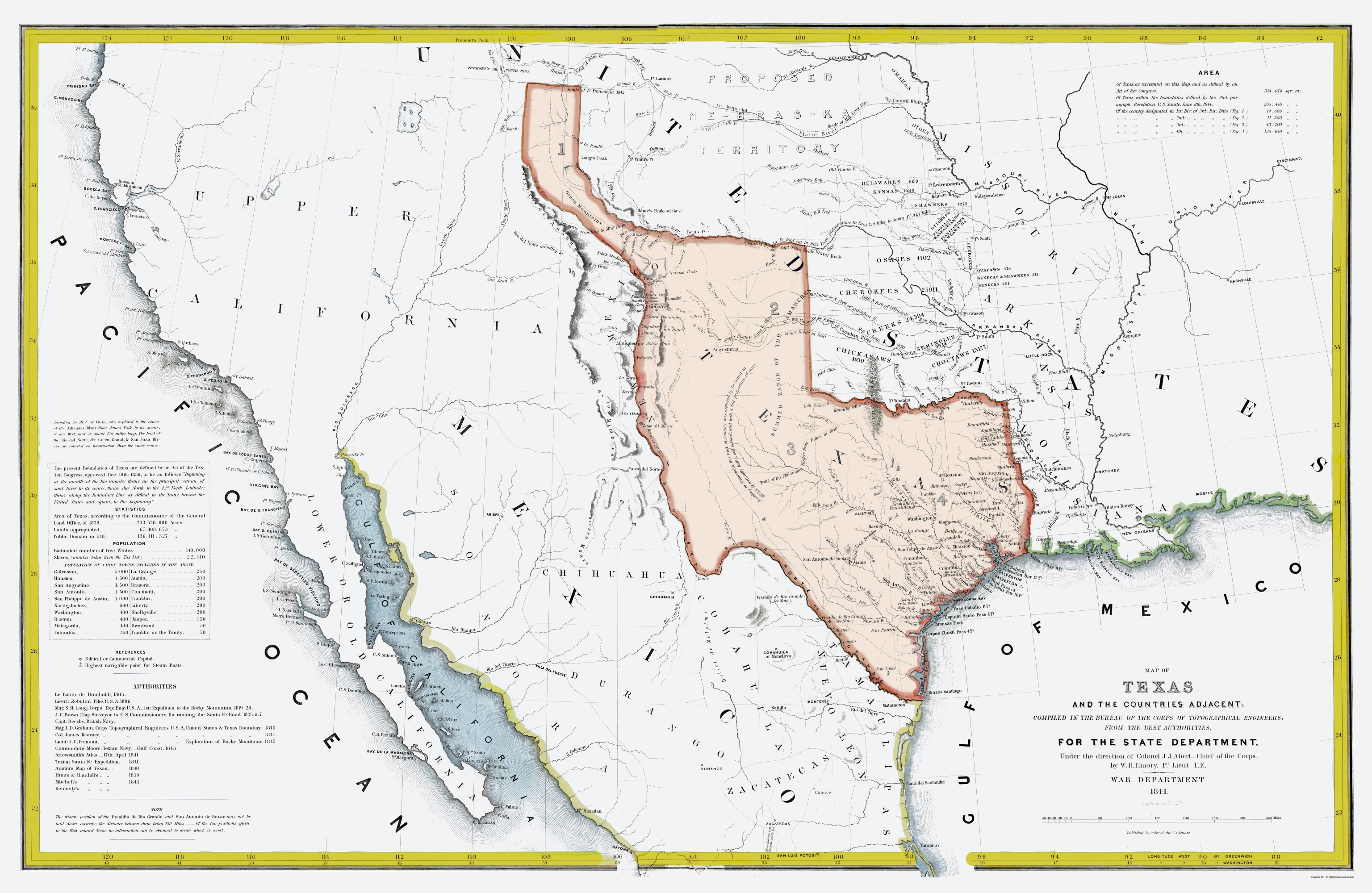 Old Map Of Texas.Old State Map Texas Republic And Adjacent Countries 1844 23 X 35