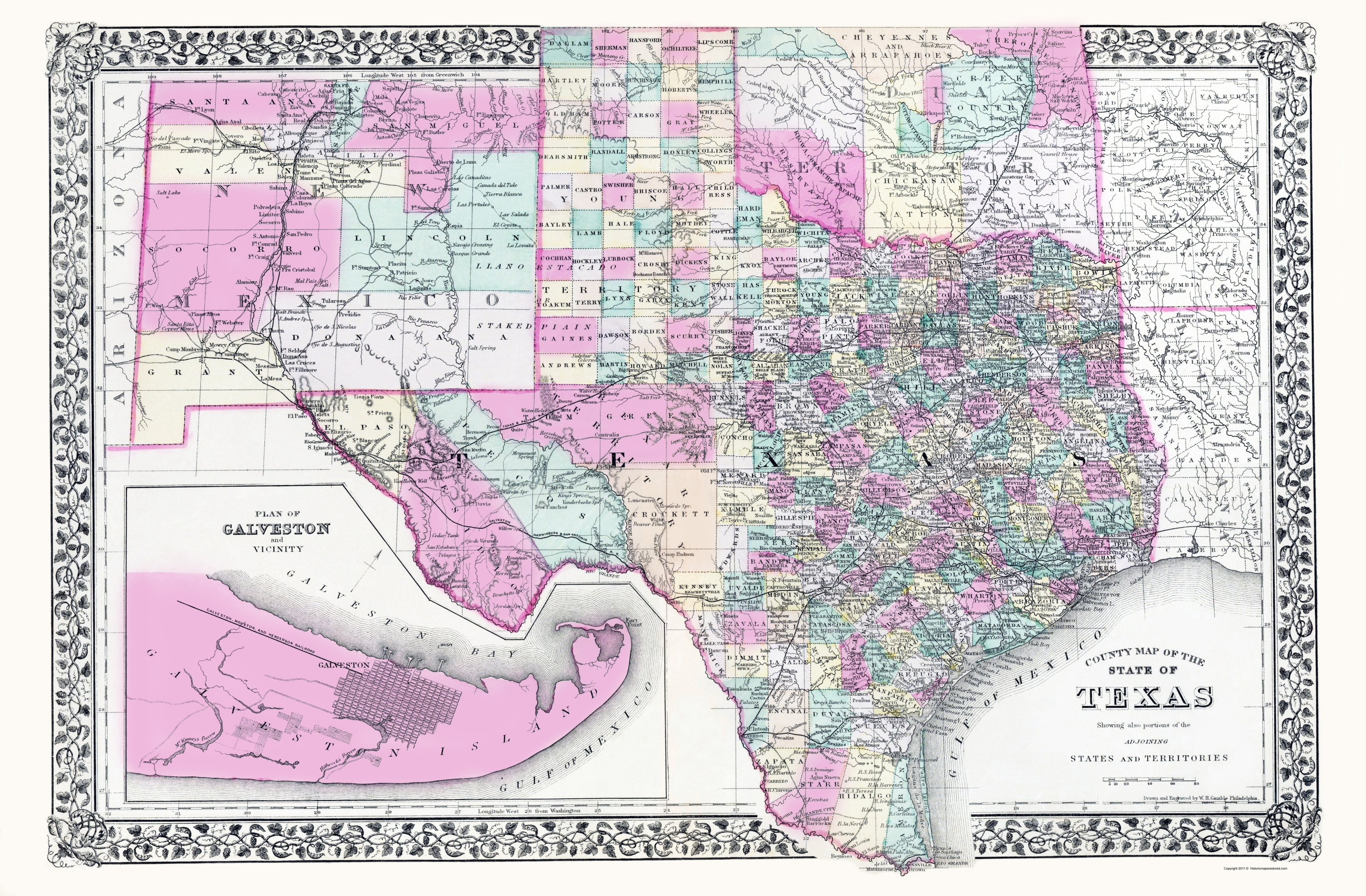 Map Of Texas New Mexico.Old State Map Texas New Mexico And Indian Territory Gamble 1890 23 X 35