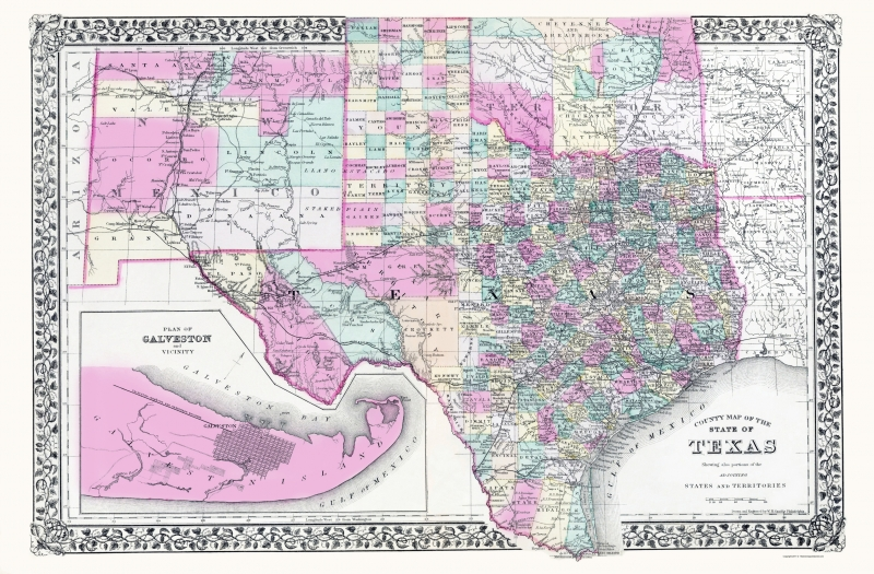 Old Map Texas New Mexico And Indian Territory 1890