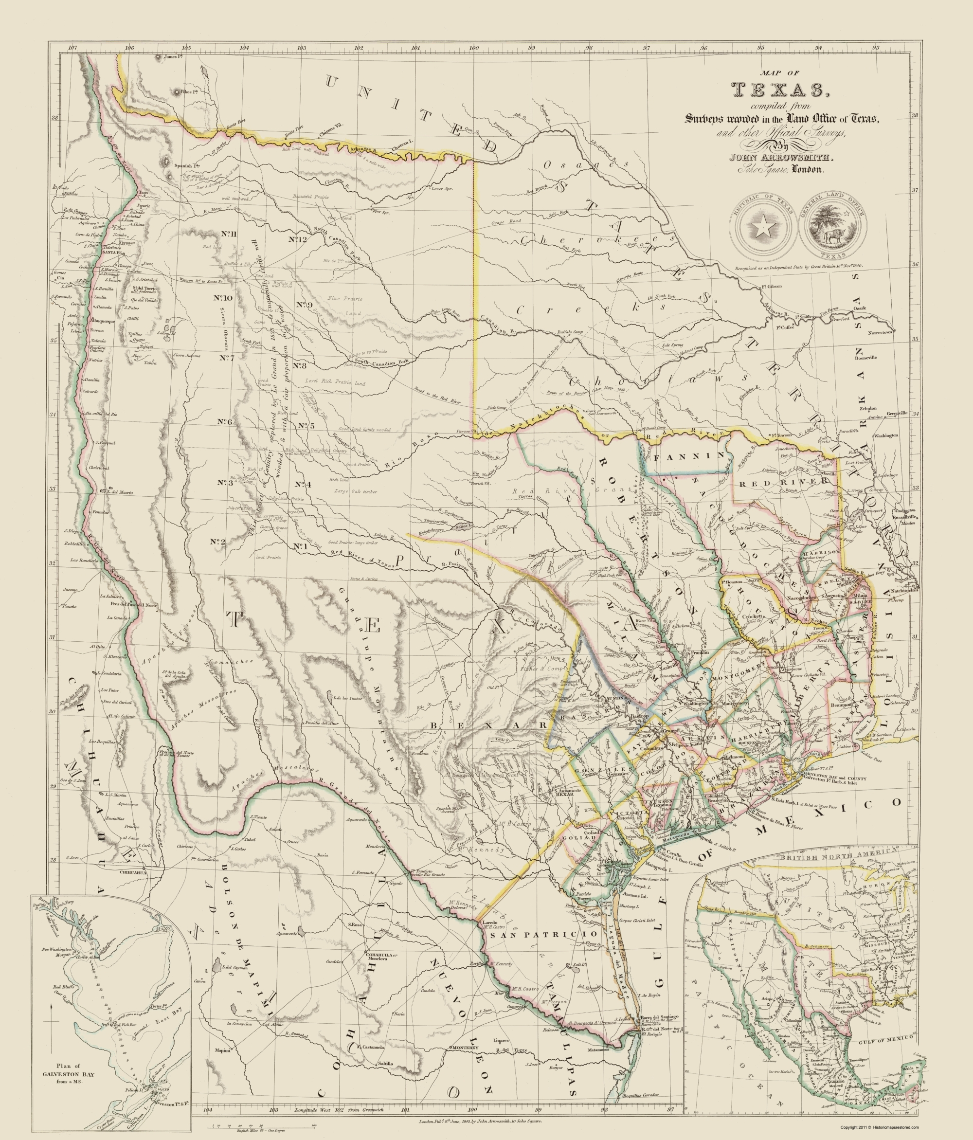 Map Of Texas 1840.Old State Map Texas And Surrounding Territories Arrowsmith 1840 23 X 26 94