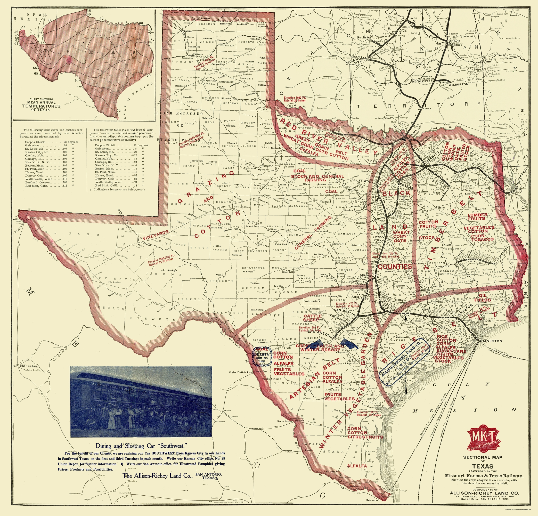 Old State Map   Texas Farming   Richey 1870