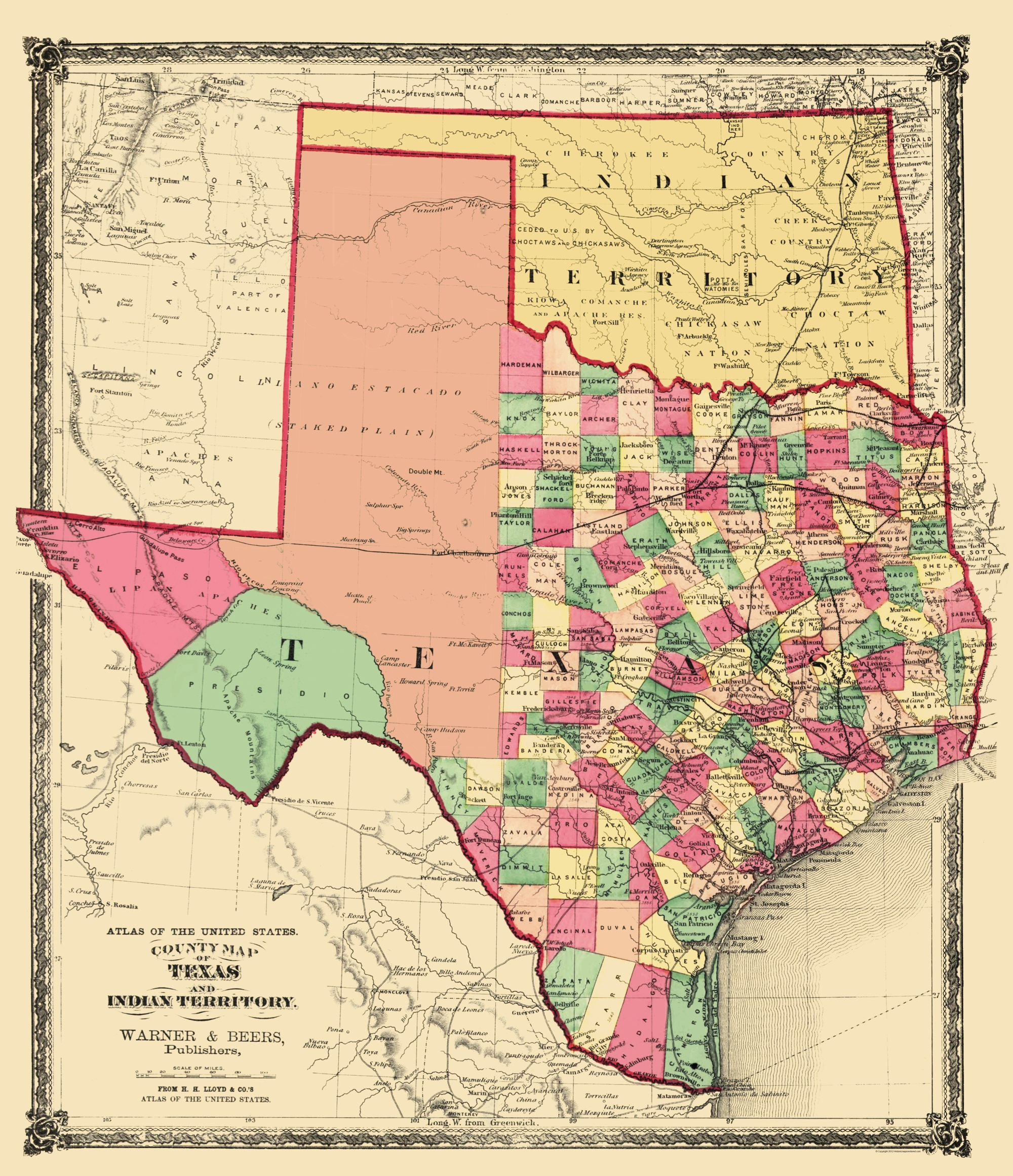 Old State Map - Texas and Indian Territory - Warner and Beers 1876 on map of levelland, map of north dfw, map of giddings, map of del city, map of panola college, map of marinette, map of phoenix mesa, map of telegraph, map of big bend np, map of alliance airport, map of spanish fort, map of fruita, map of ranger college, map of la marque, map of mcculloch county, map of dallas, map of snyder, map of lake bridgeport, map of west columbia, map of liberal,