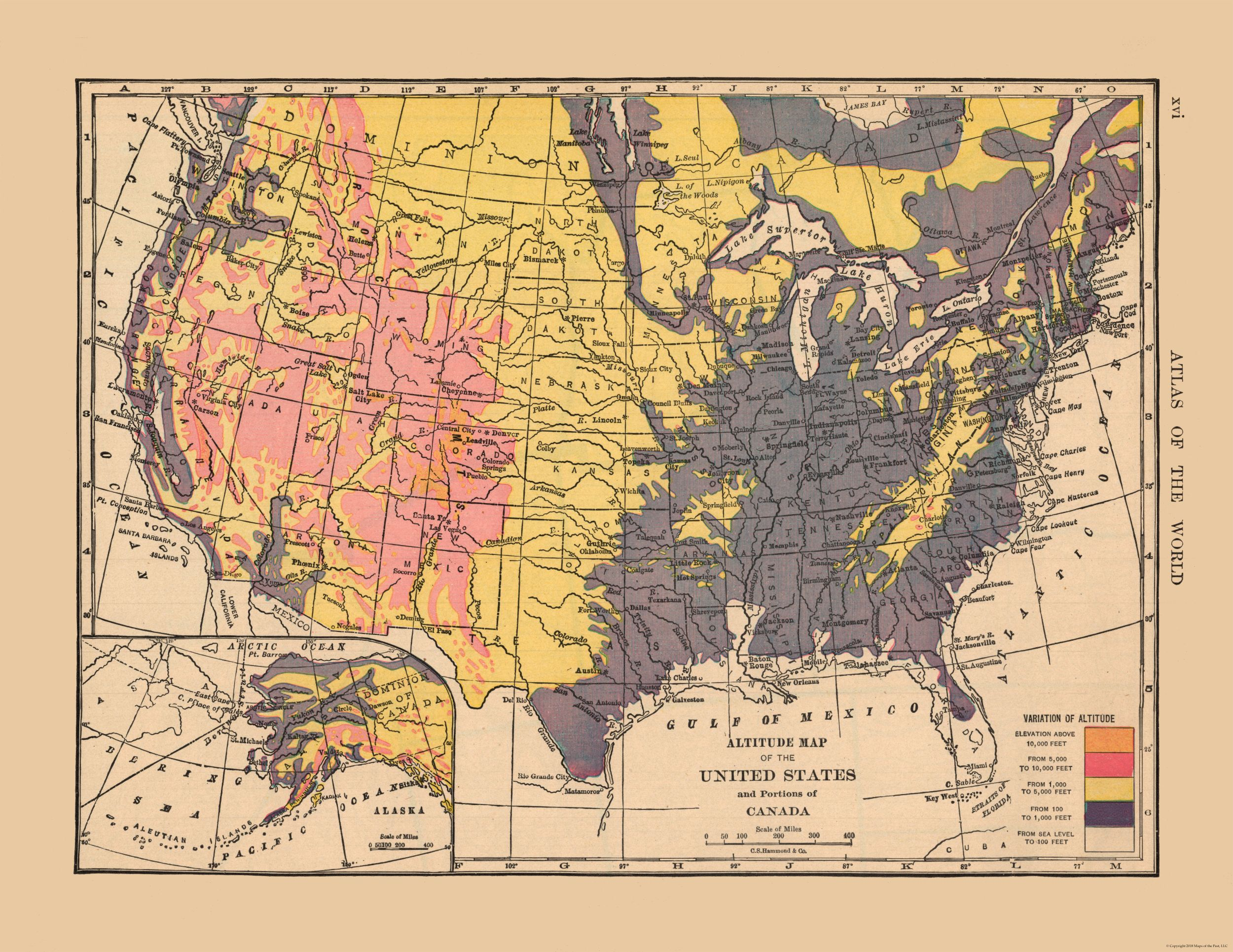 Old State Map - Altitude Map of US, Canada - Hammond\'s Atlas 1910 - 29.79 x  23