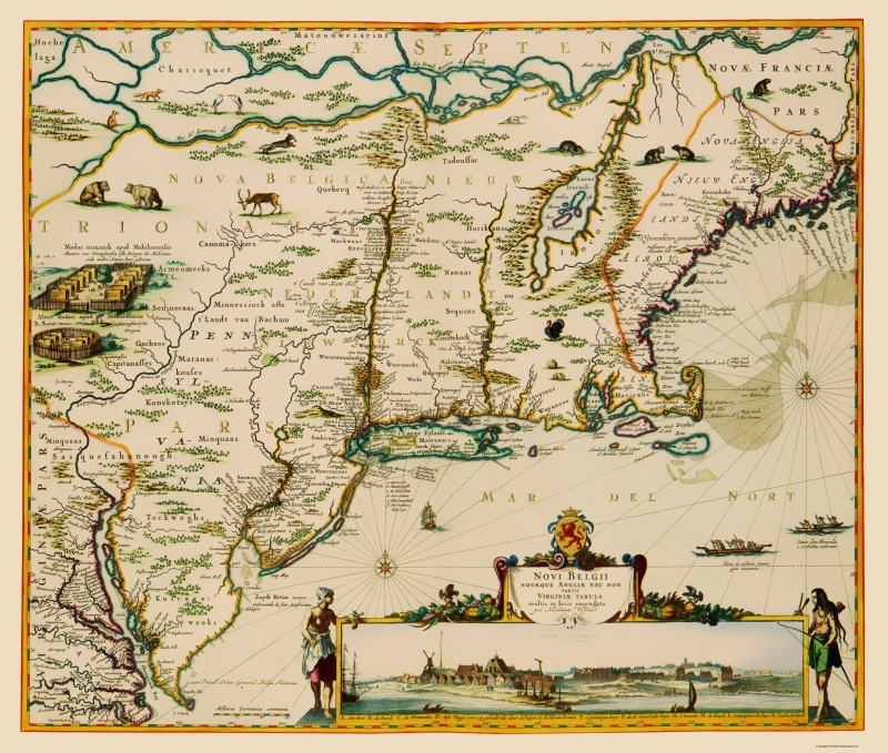 Old State Map - US East Coast, Chesapeake Bay to Maine 1685 - 23 x 27