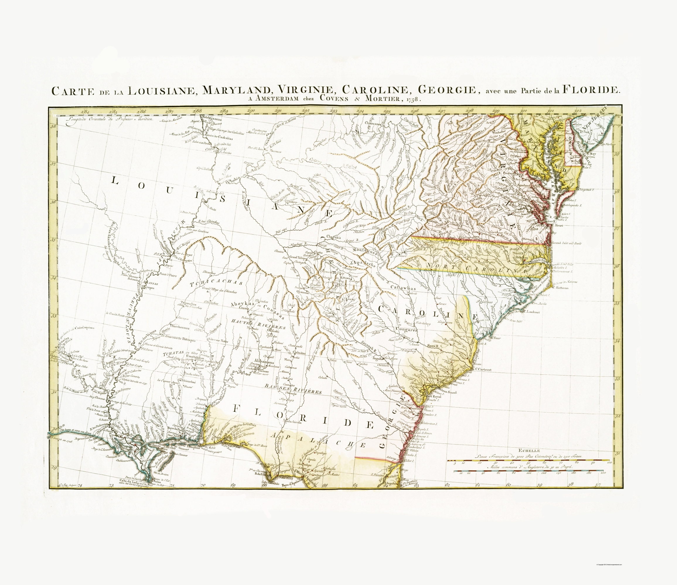 Old State Map - Eastern United States - Covens and Mortier 1758 - 23 x 26 57