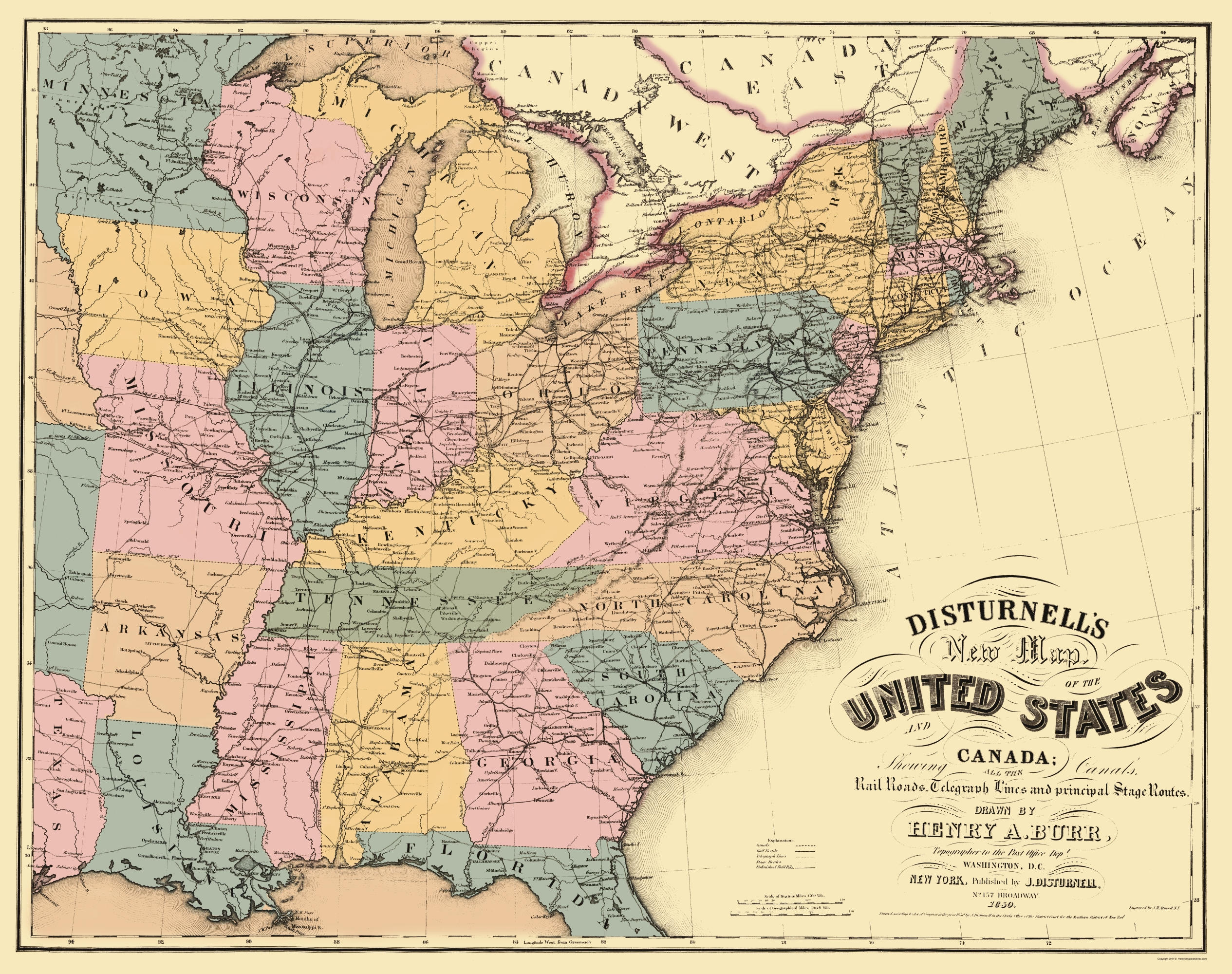 Old Map US East Railroad Telegraph Stage Coach - Map of us railroads in 1850