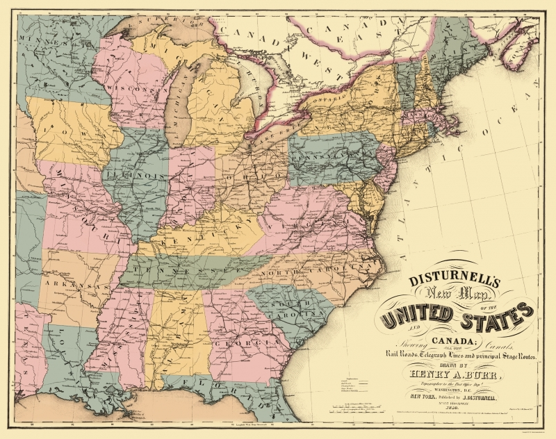 Old State Map - US East Railroad, Telegraph, Stage Coach 1850 - 23 x 29