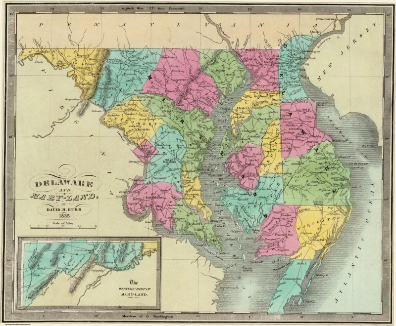 Old State Map - Delaware, Maryland - Burr 1835 - 27.88 x 23