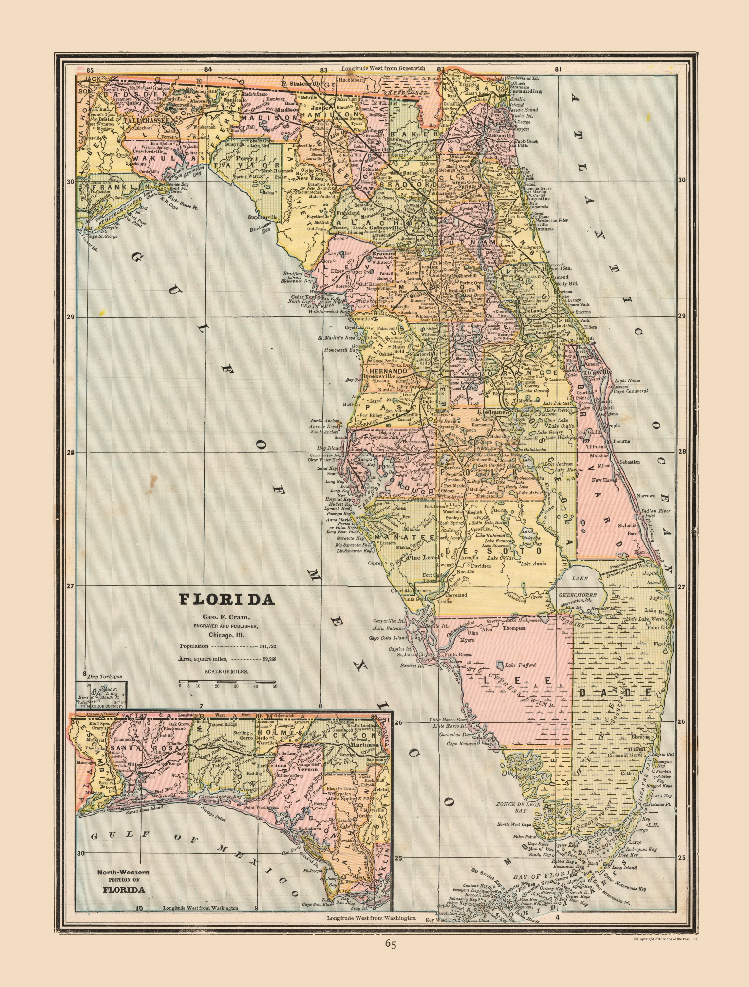 Old State Maps - Florida, United States - Cram's Atlas 1888 - 23 x on newport on us map, juneau on us map, martha's vineyard on us map, madison on us map, mount vernon on us map, portsmouth on us map, naples on us map, panama city on us map, north platte on us map, roanoke on us map, walt disney world on us map, largo on us map, cancun on us map, columbia on us map, grand canyon national park on us map, orange county on us map, cabo san lucas on us map, sioux falls on us map, hudson on us map, saint augustine on us map,