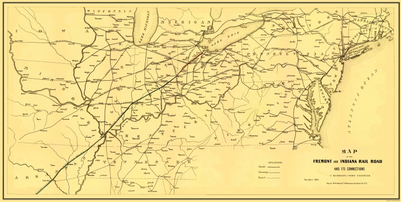 Old Railroad Map - Fremont and Indiana Railroad - Arthur 1858 - 23 on indiana gas line maps, indiana breweries list, indiana industrial map, wayne county michigan zip code map, central of georgia map, indiana railroads 1950s, indiana utilities map, us 40 indiana map, monon indiana map, norfolk & western map, big indiana state map, cleveland rail map, indiana electrical lines, indiana ohio railway company, indiana truck map, indiana outline vector, indiana trains, minnesota commercial railway map, big pine creek indiana map, indiana interurban,