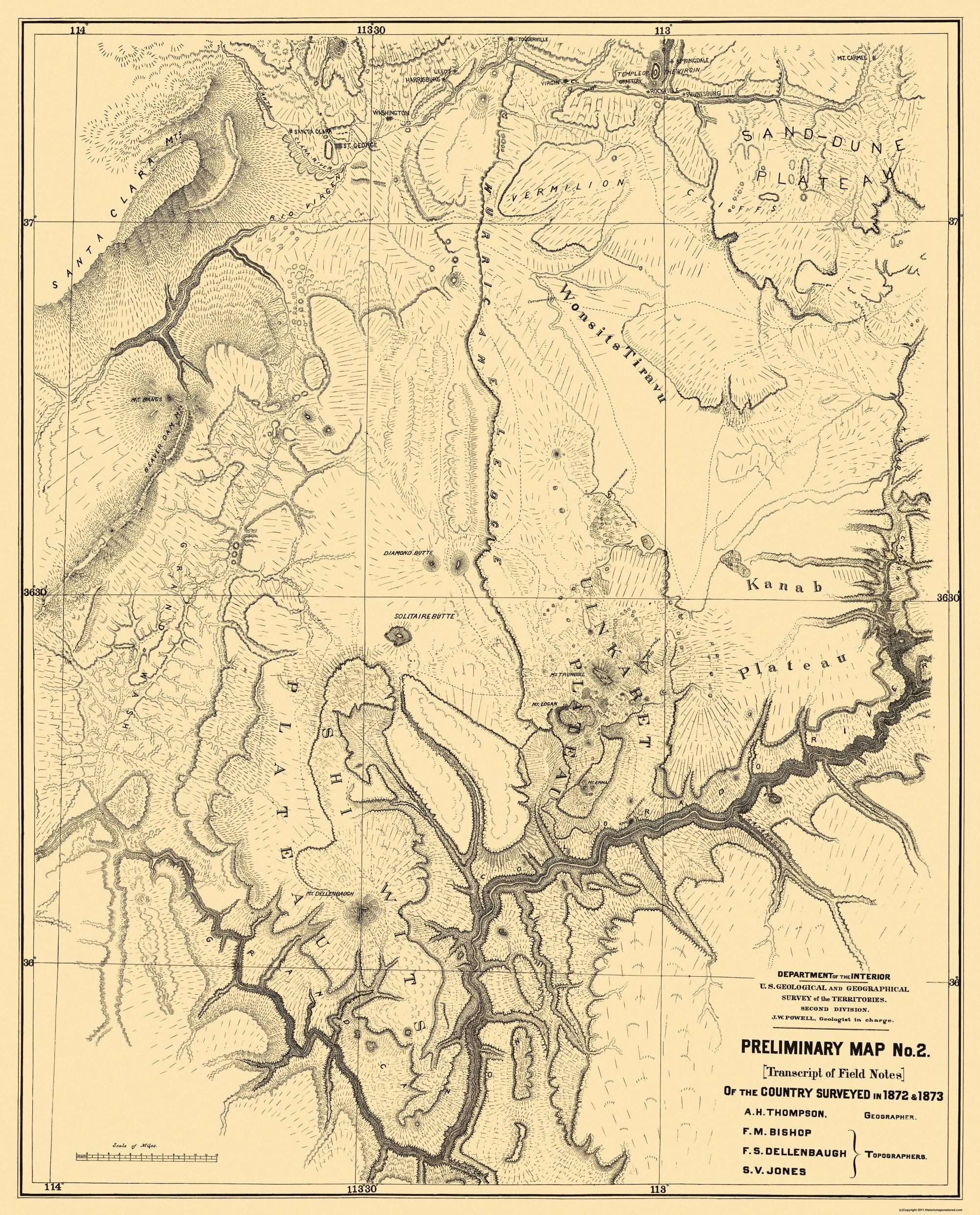 Old State Map Grand Canyon Arizona 1873