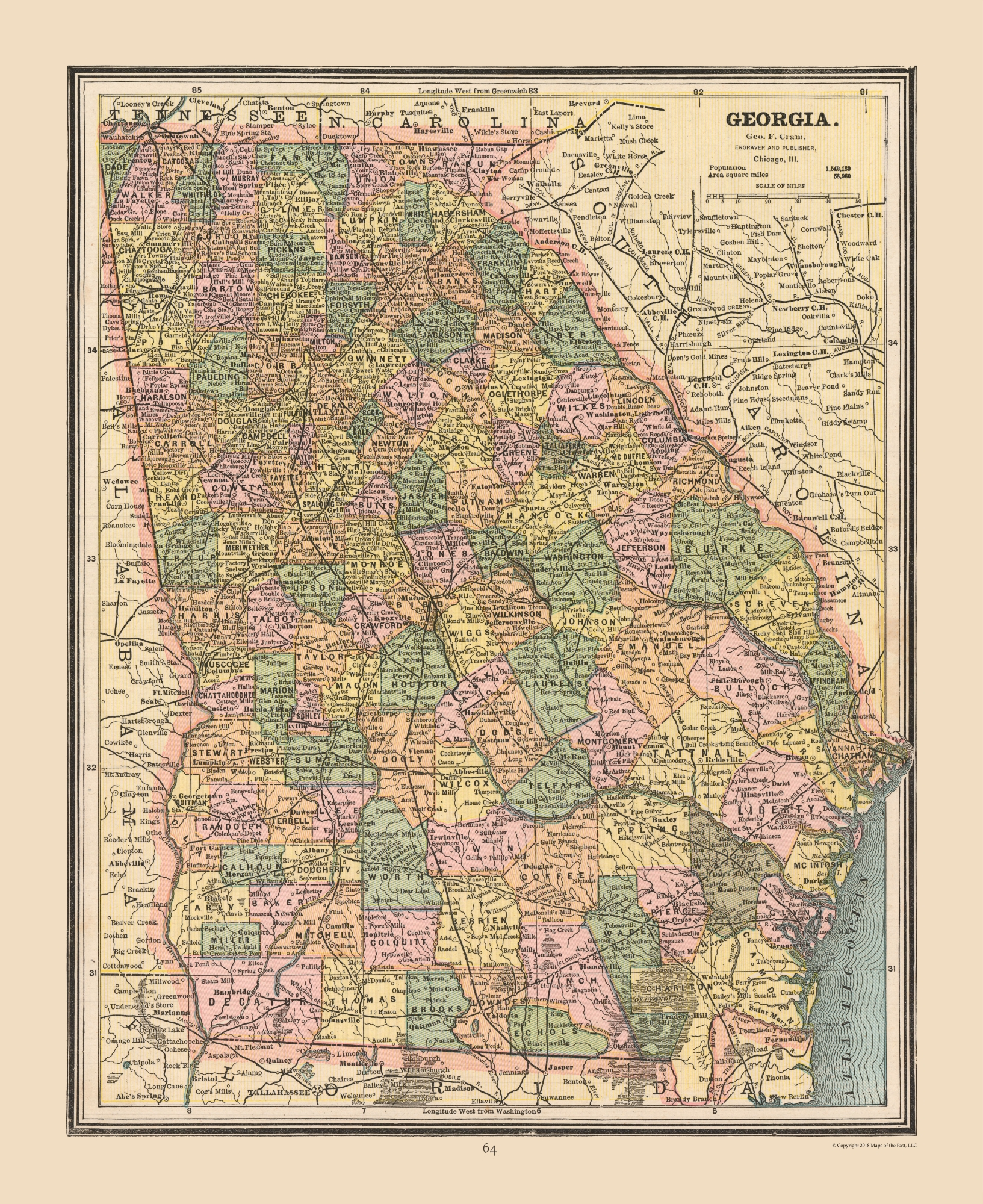 Map Of Georgia United States.Old State Maps Georgia United States Cram S Atlas 1888 23 X 28 17