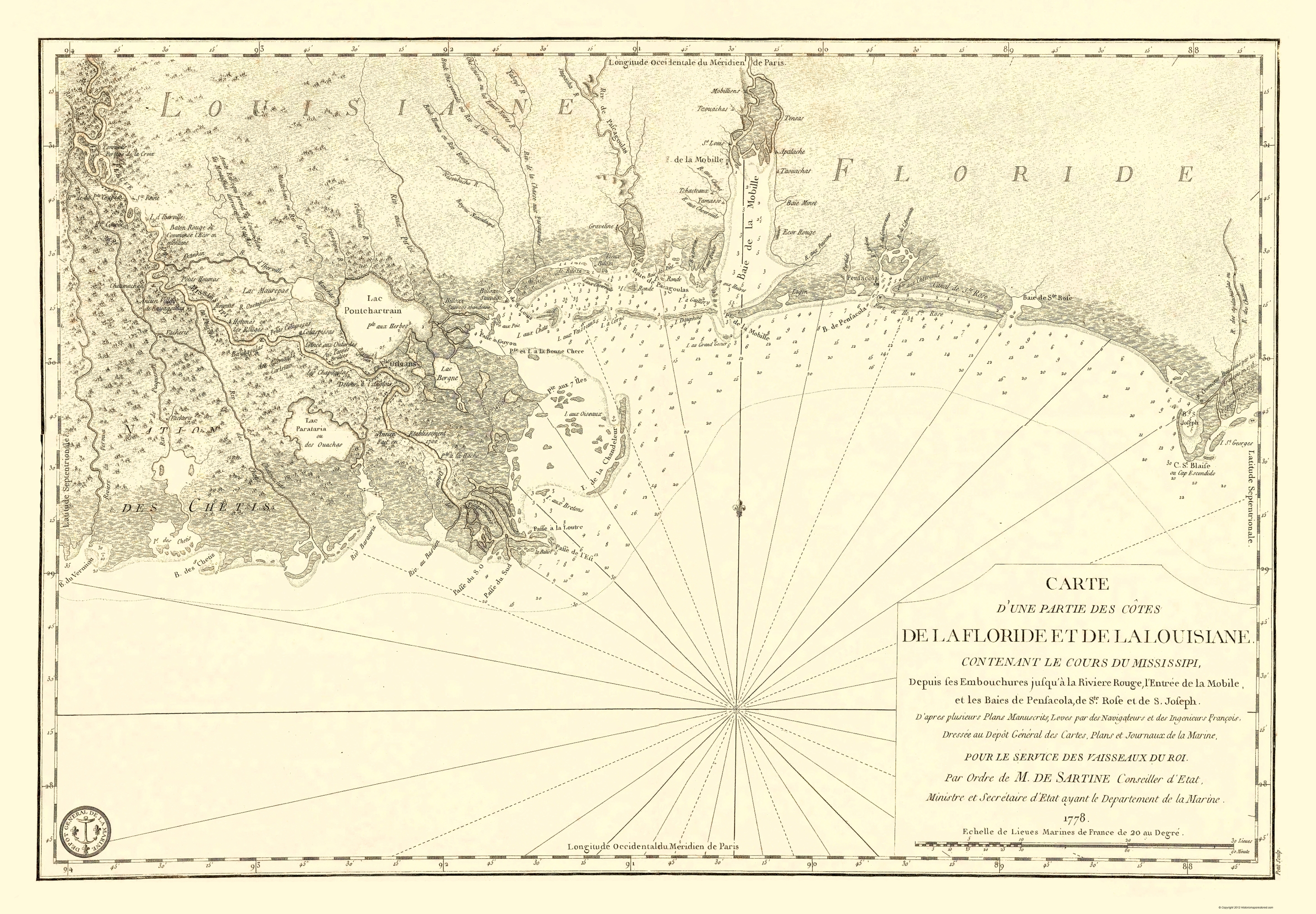 Old Travel Map - Florida and Louisiana Gulf Coast 1778