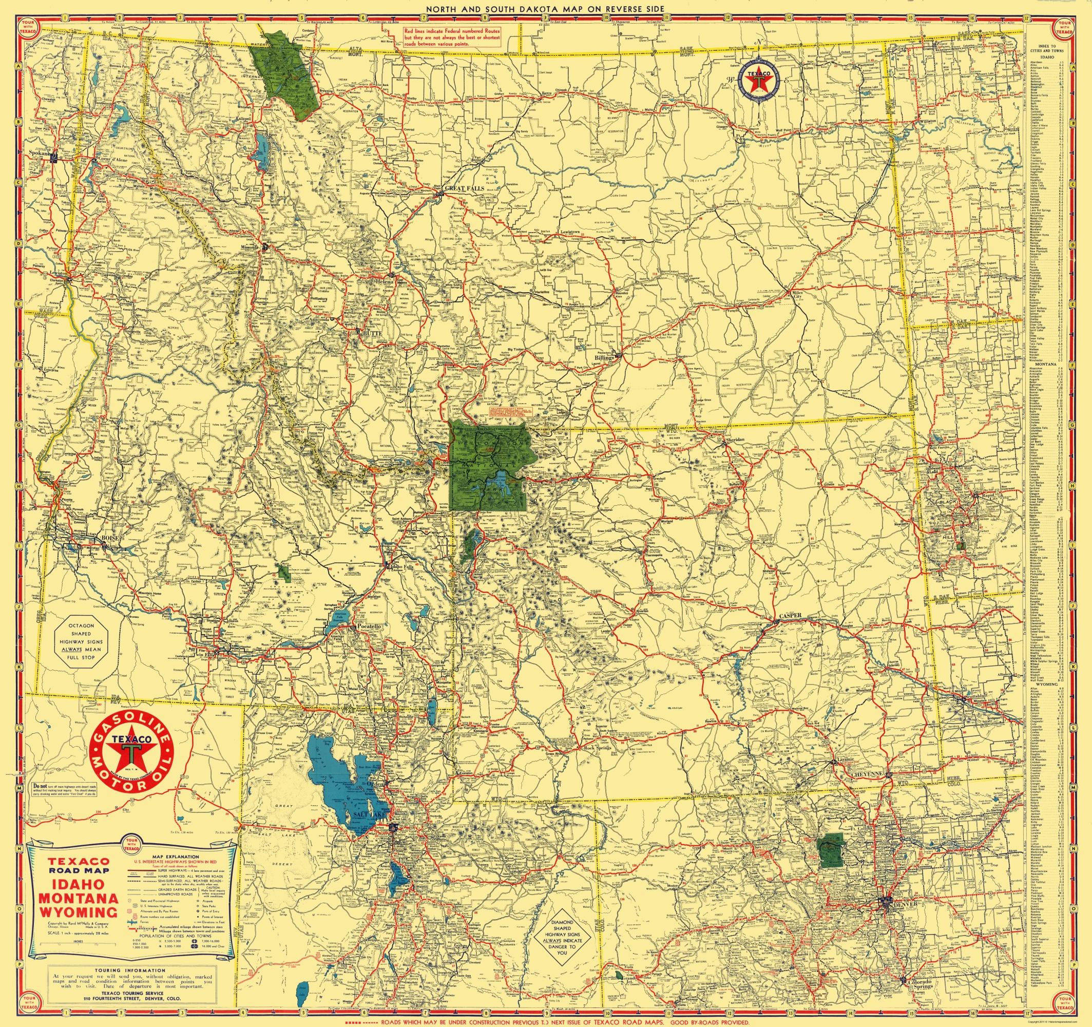 Old State Map Texaco Idaho Montana Wyoming Rand Mcnally 1937 23 X 24
