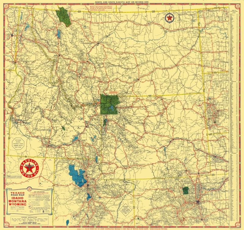 Old State Map - Texaco - Idaho, Montana, Wyoming - Rand McNally 1937 - 23 x  24