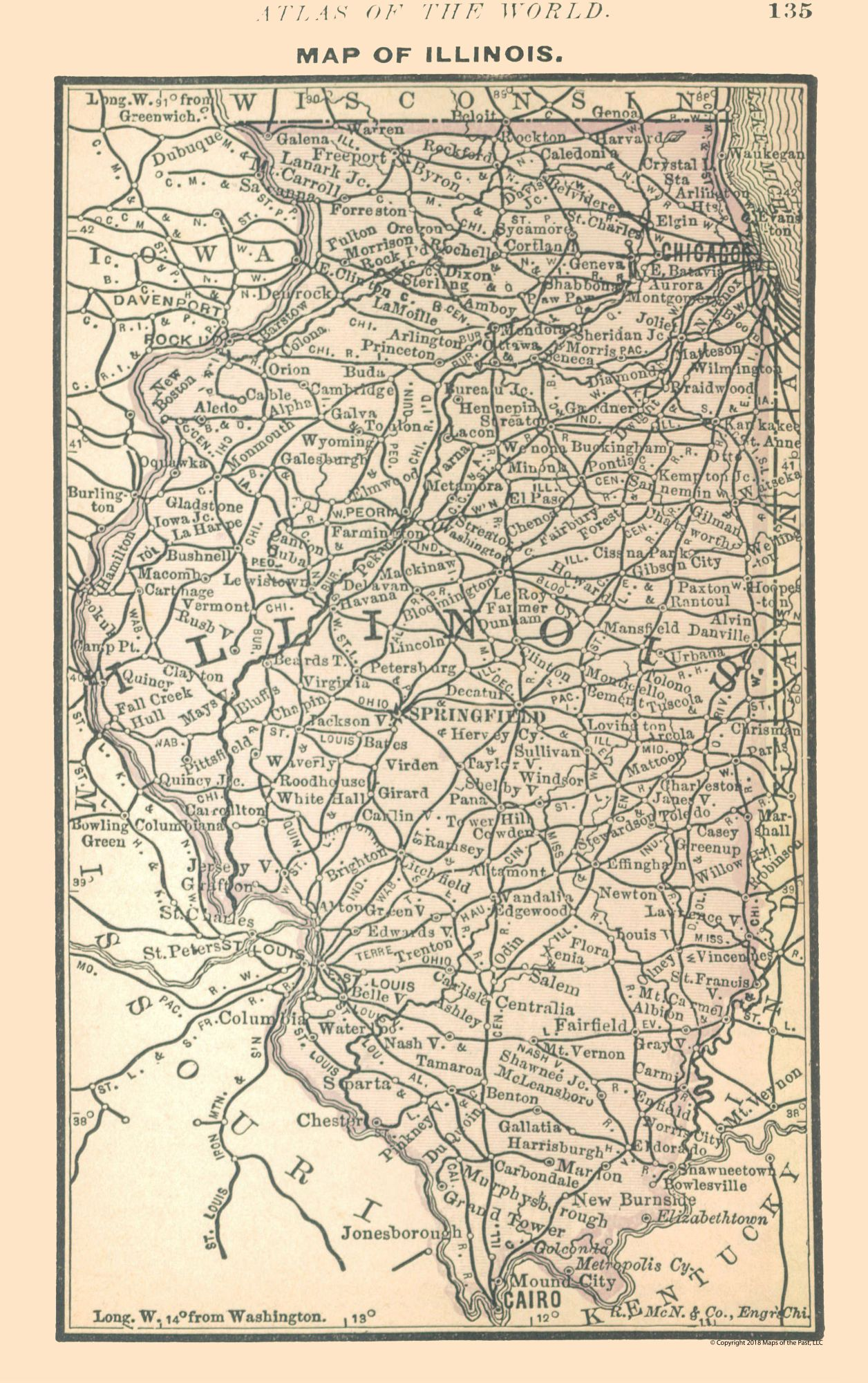 Old State Maps | Illinois   Alden 1886   23 x 36.62